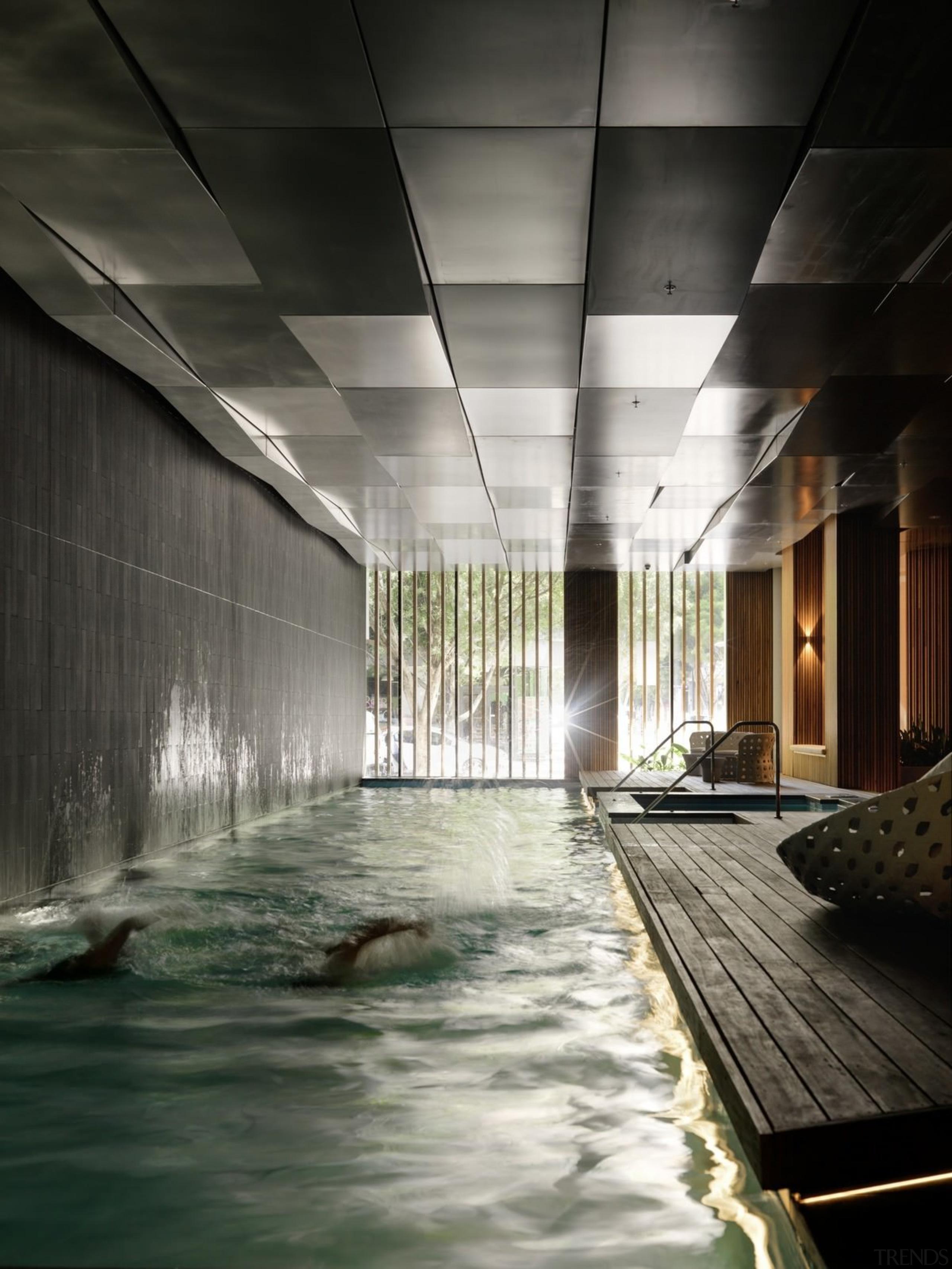 Promenade Aqui by Woods Bagot - Promenade Aqui architecture, ceiling, daylighting, reflection, water, black, gray