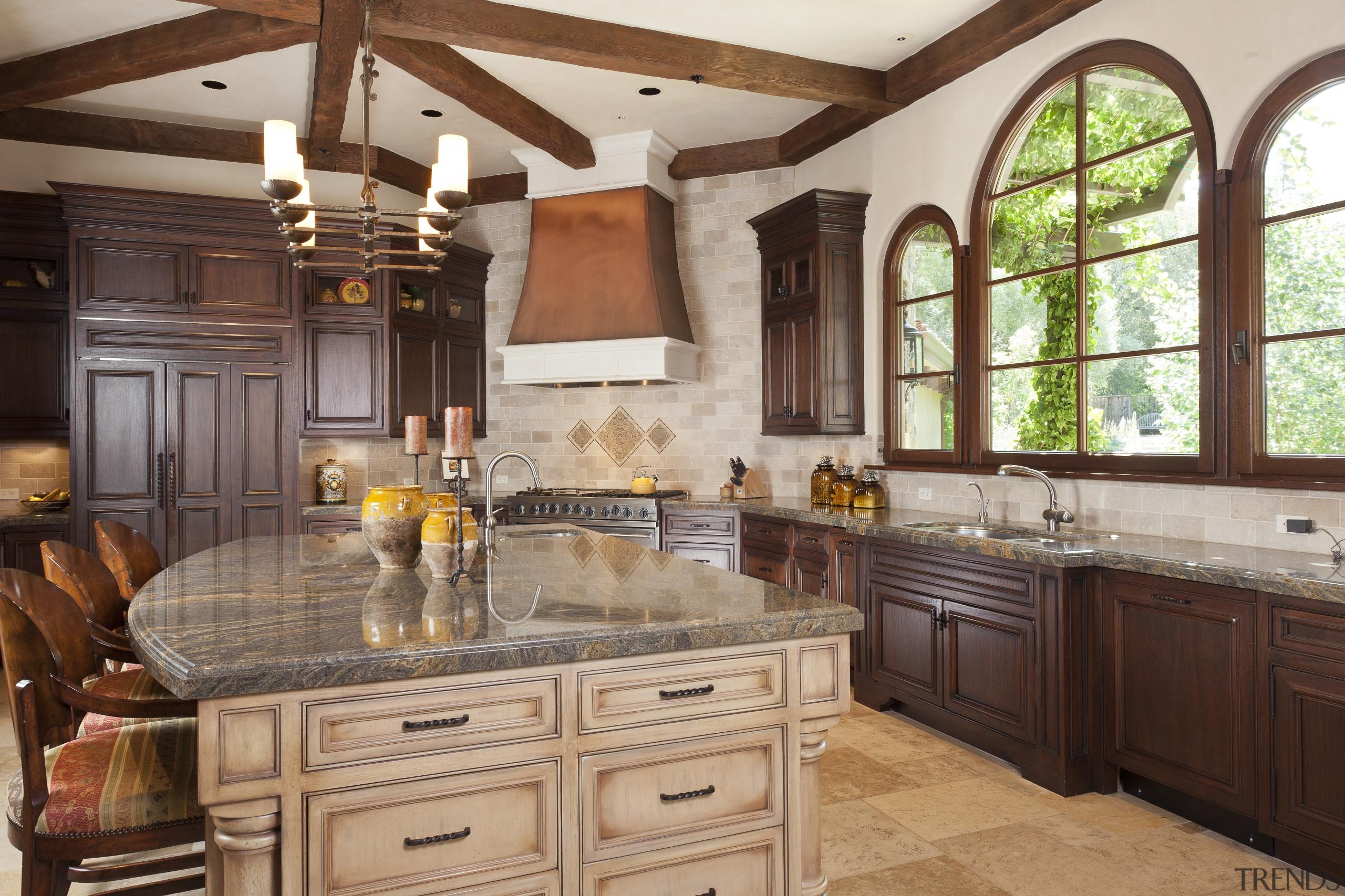 Santa Barbara-Meditteranean-style interior by Alison Whittaker cabinetry, countertop, cuisine classique, estate, home, interior design, kitchen, room, brown, gray