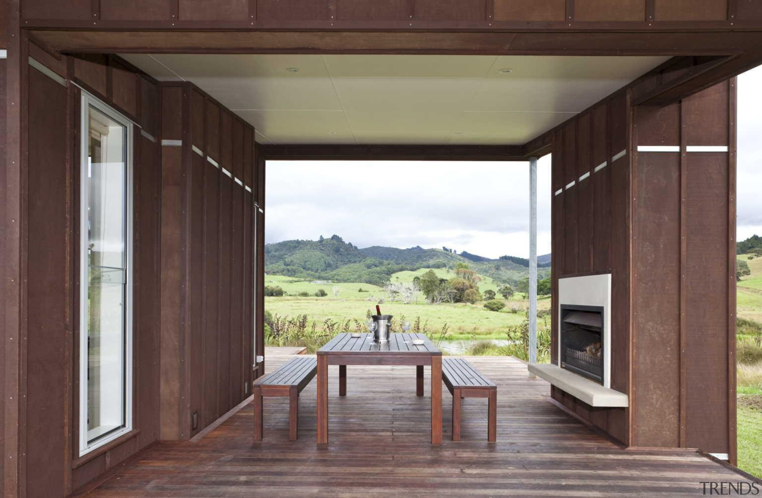 Timber outdoor dining fireplace - Outdoor Dining Fireplace architecture, estate, house, interior design, real estate, window, wood, black