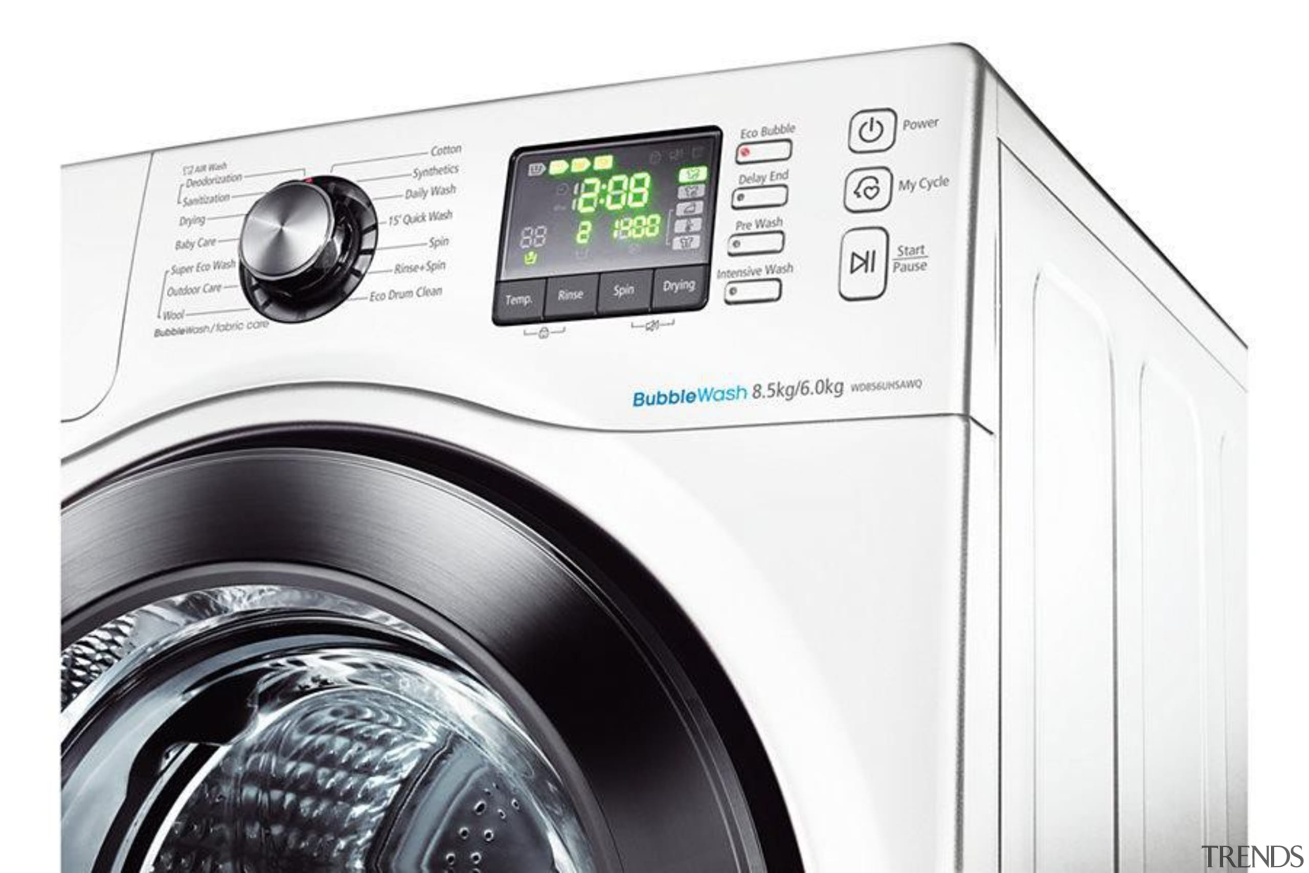 Laundry-Washer Dryer WD856UHSAWith the Quick Wash feature, you clothes dryer, home appliance, laundry, major appliance, product, product design, washing machine, white