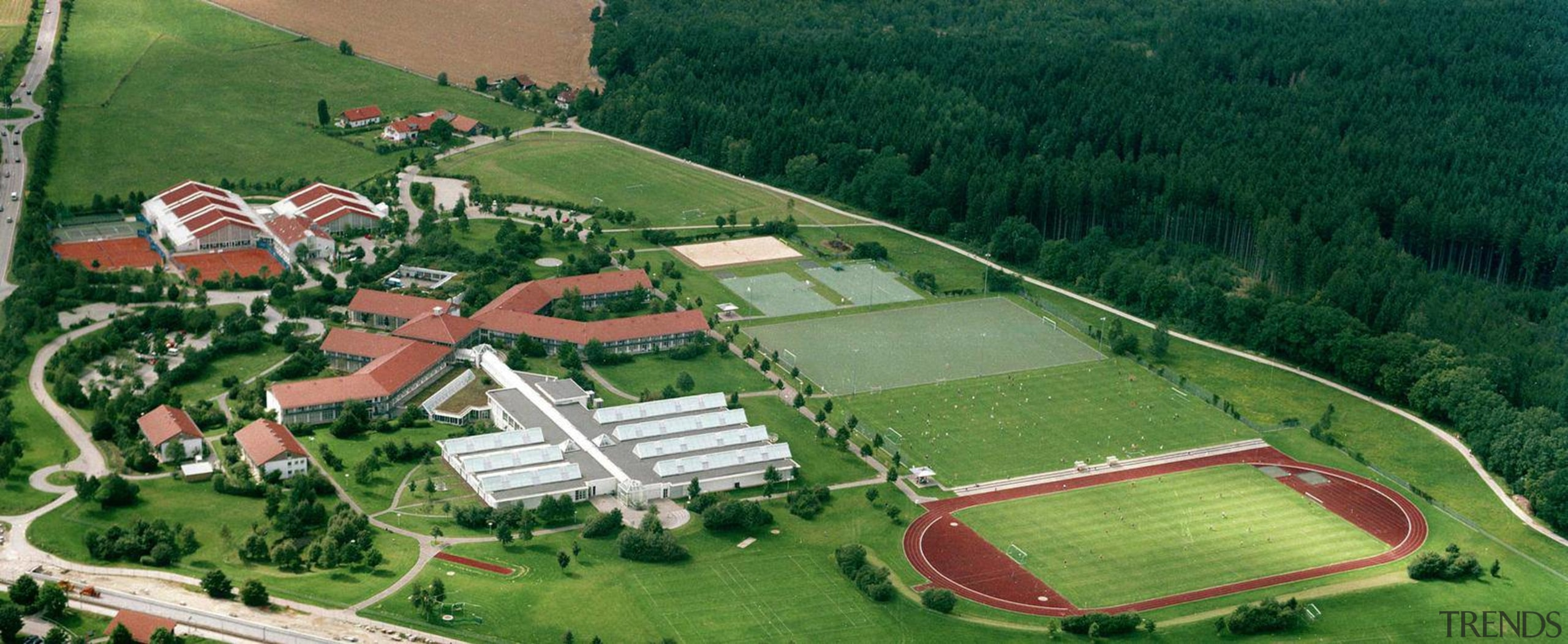 Oberhaching College of Physical Education was jointly planned aerial photography, bird's eye view, estate, farm, land lot, landscape, leisure, rural area, suburb, green