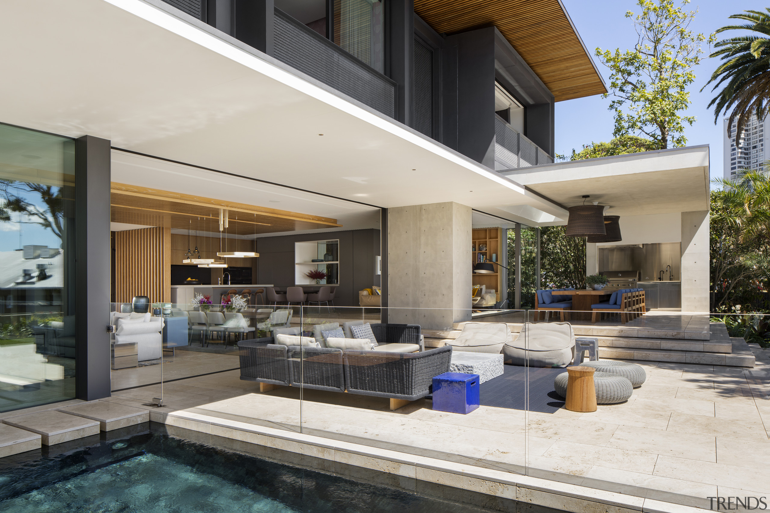 ​​​​​​​Light, bright and open – there's an uninterrupted home, house, interior design, swimming pool, window, white, black, outdoor living, SAOTA