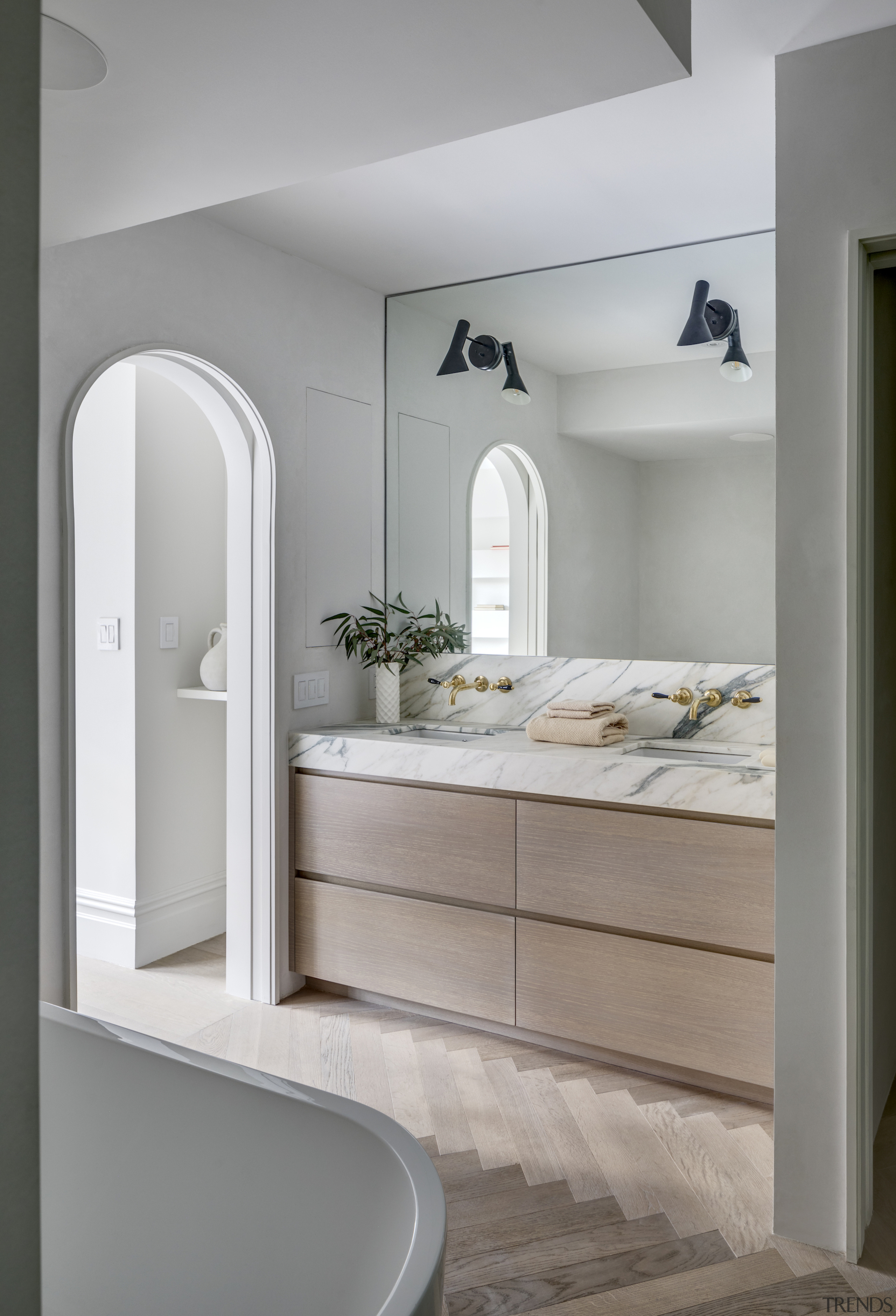 Arched doorways are a feature of the interior,