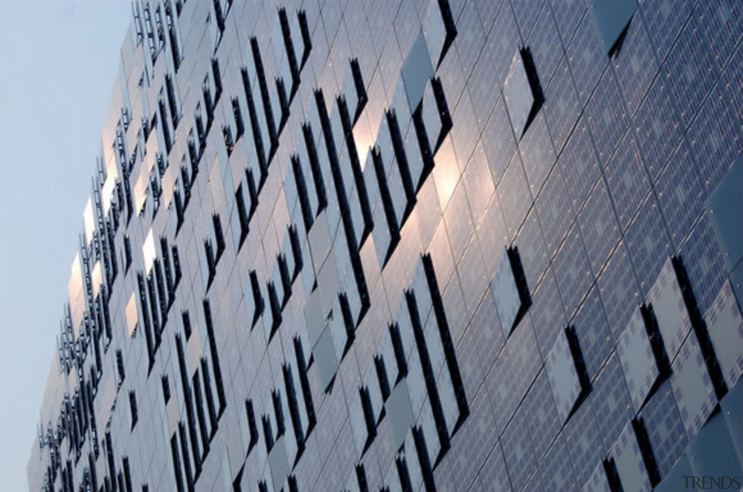 Designed by SGP Architects the GreenPix Zero Energy building, design, font, pattern, reflection, sky, water, gray
