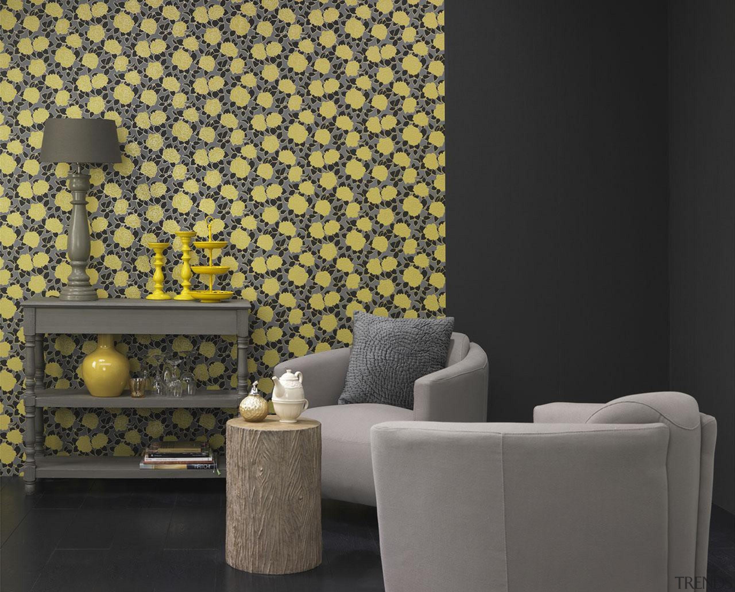 Brocante II Range - Brocante II Range - interior design, living room, product design, wall, wallpaper, yellow, black, gray