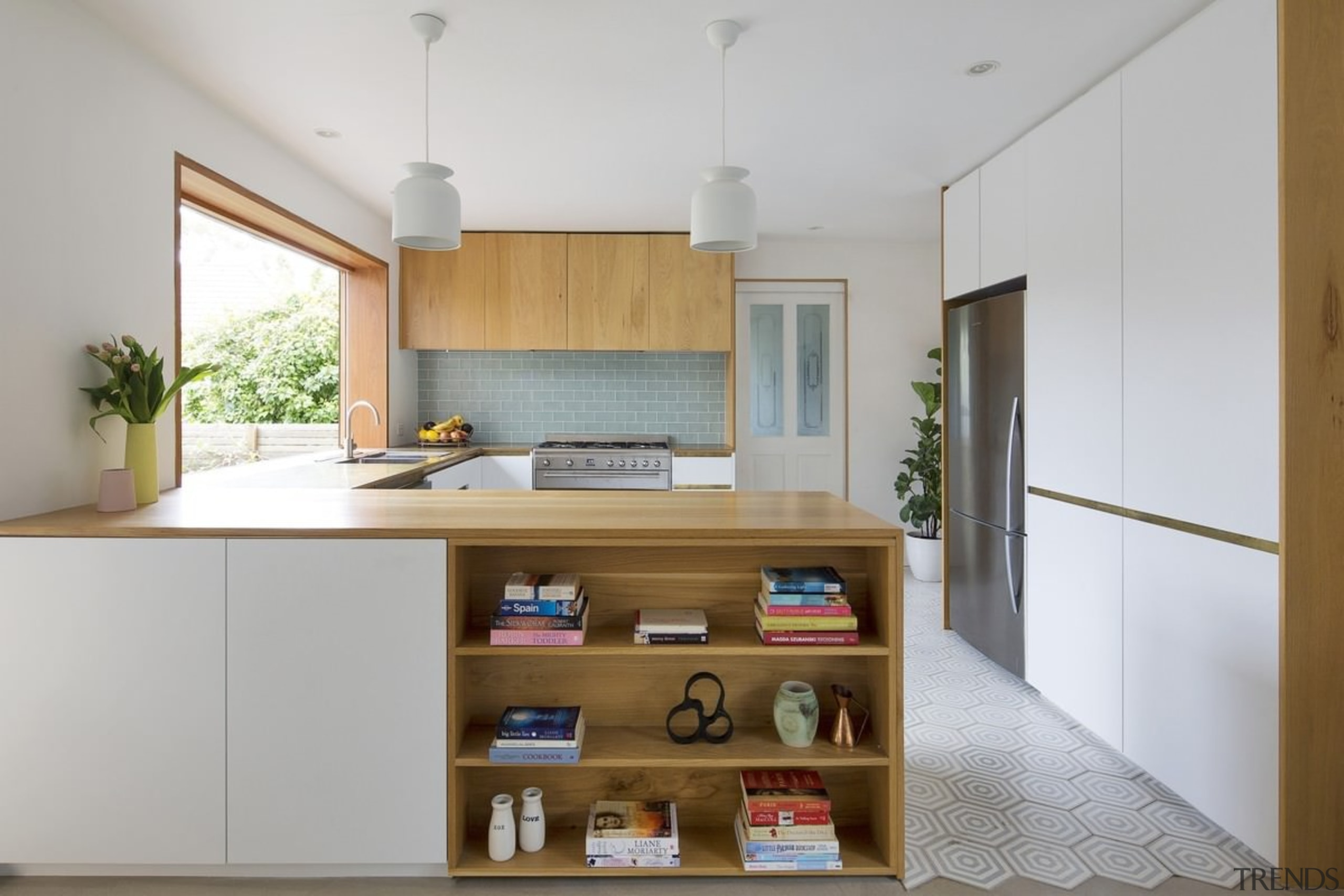 The kitchen features a useful shelf on the architecture, cabinetry, countertop, cuisine classique, interior design, kitchen, real estate, gray