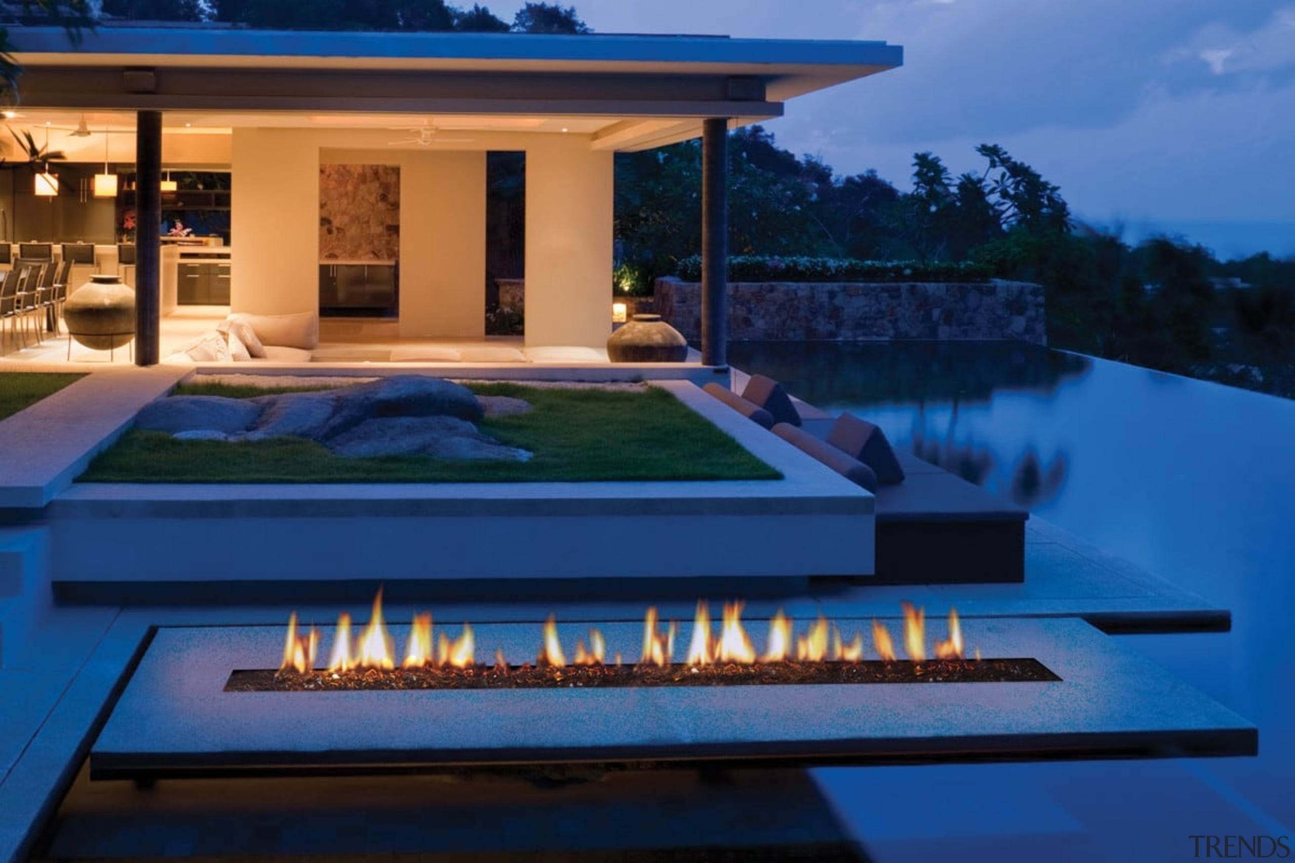 Outdoor Gas Fires - architecture | estate | architecture, estate, home, house, landscape lighting, leisure, lighting, property, real estate, resort, swimming pool, villa, blue