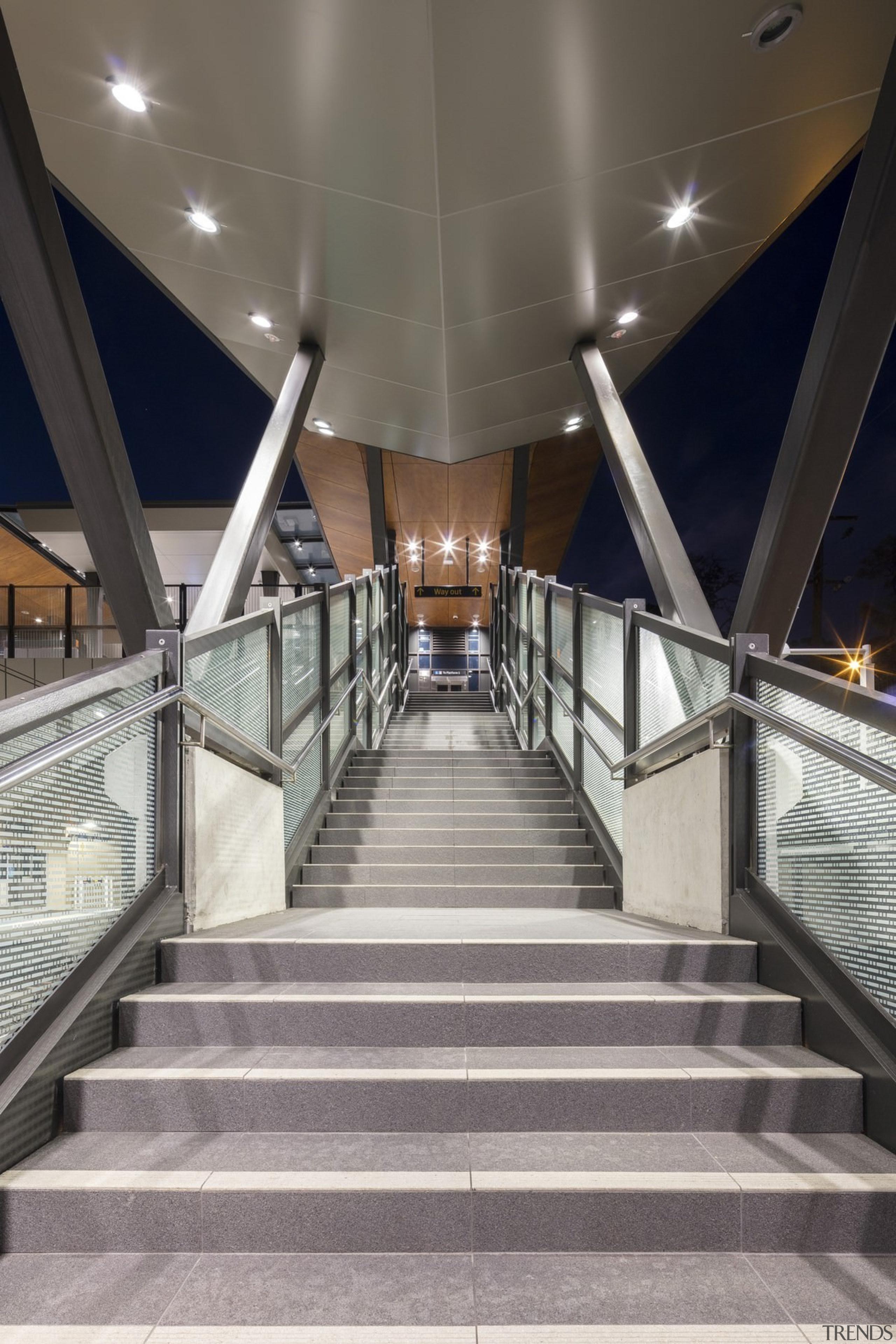 Cheltenham Station – Cox Architecture - Cheltenham Station architecture, daylighting, escalator, handrail, metropolitan area, stairs, structure, symmetry, gray, black