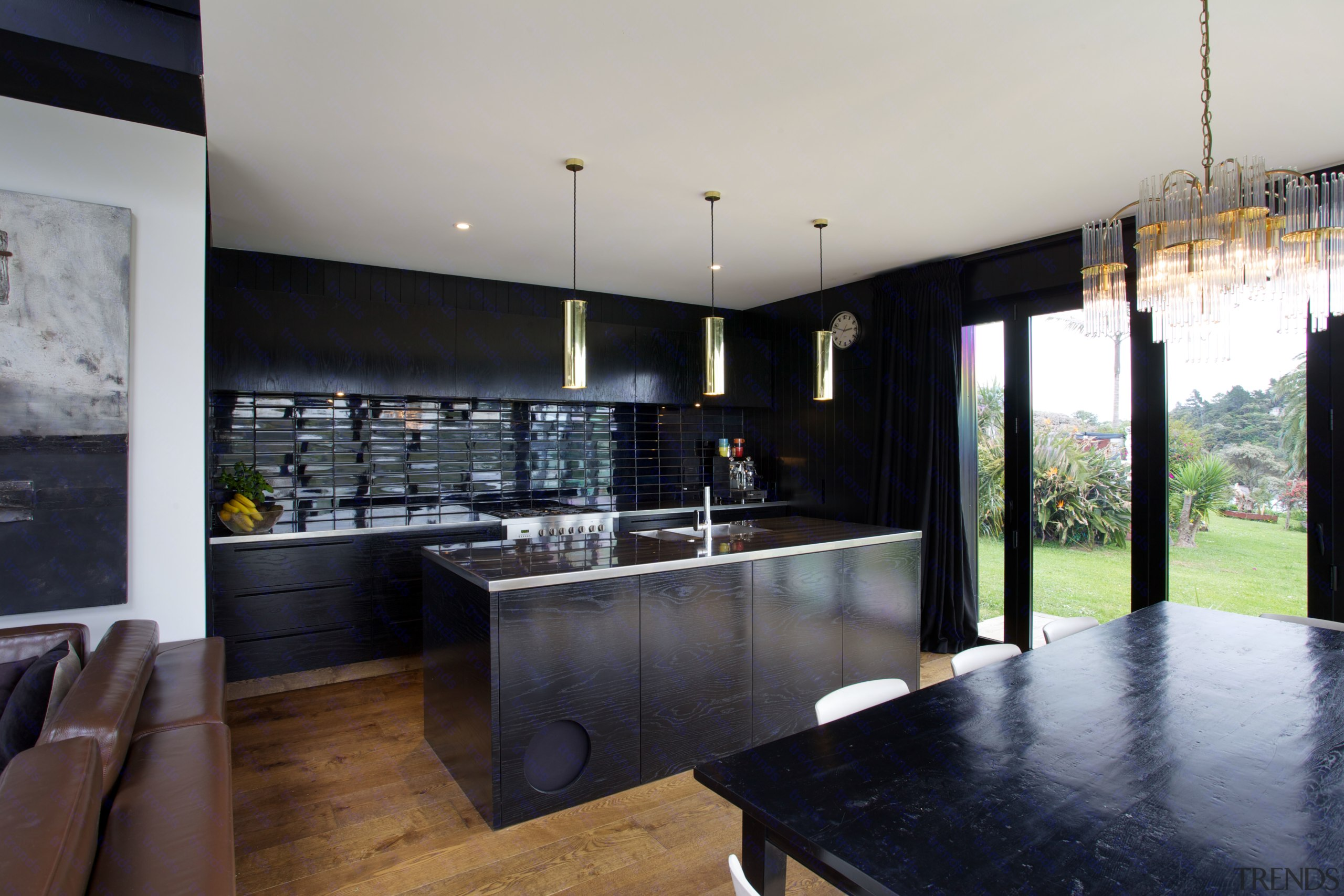 In this new kitchen designed by owner David architecture, countertop, house, interior design, kitchen, property, real estate, gray, black