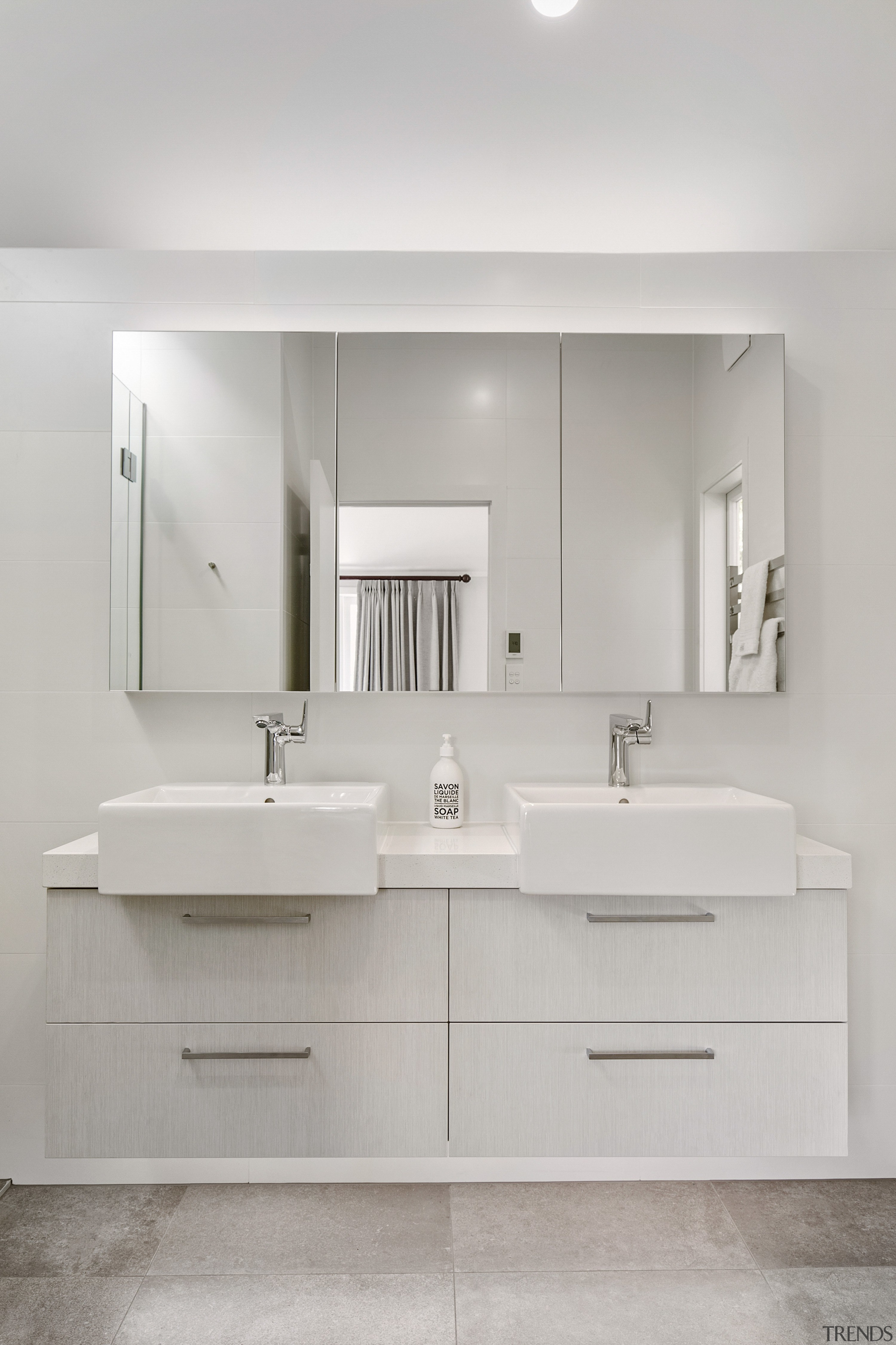 This double bathroom vanity displays the design appeal
