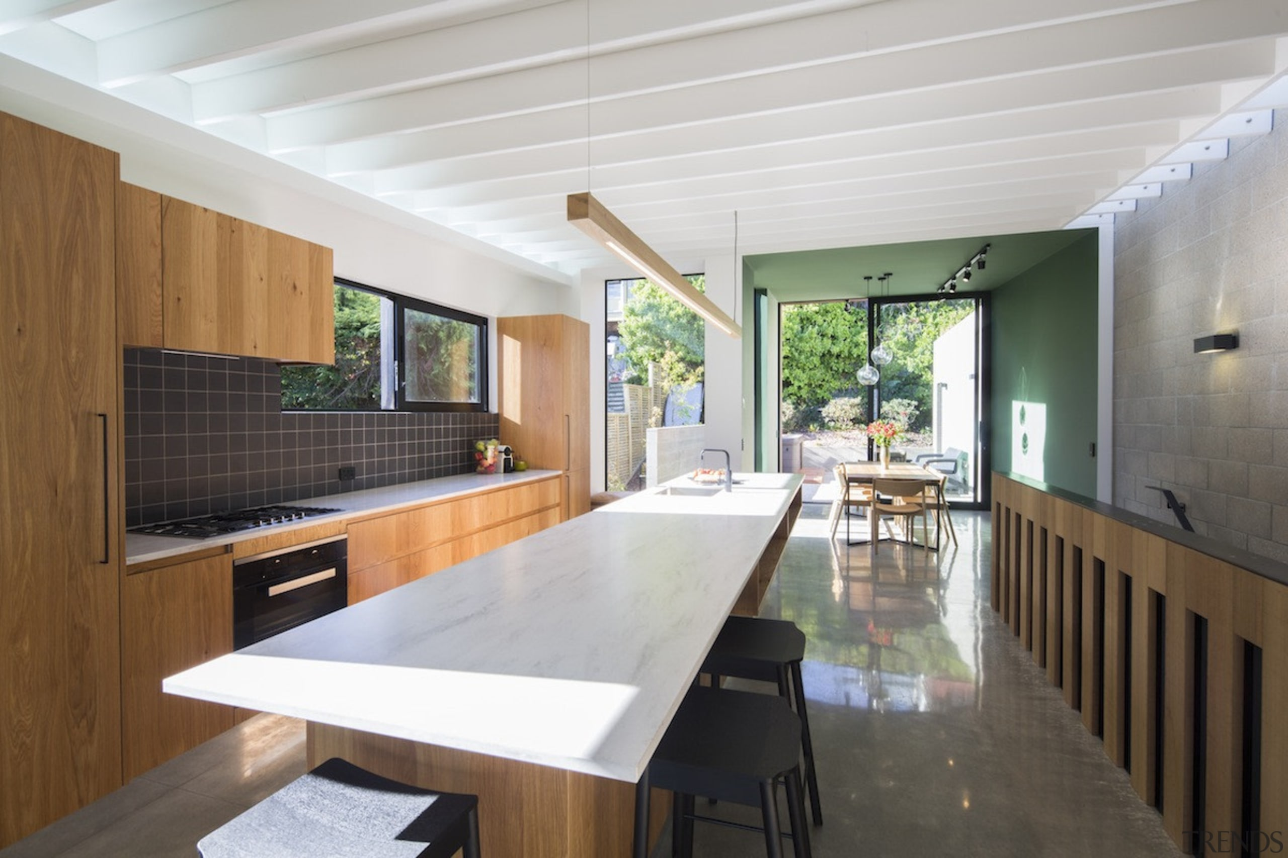 Arrowtown-based Bennie Builders was the only Southern Lakes architecture, daylighting, house, interior design, real estate, table, white, gray