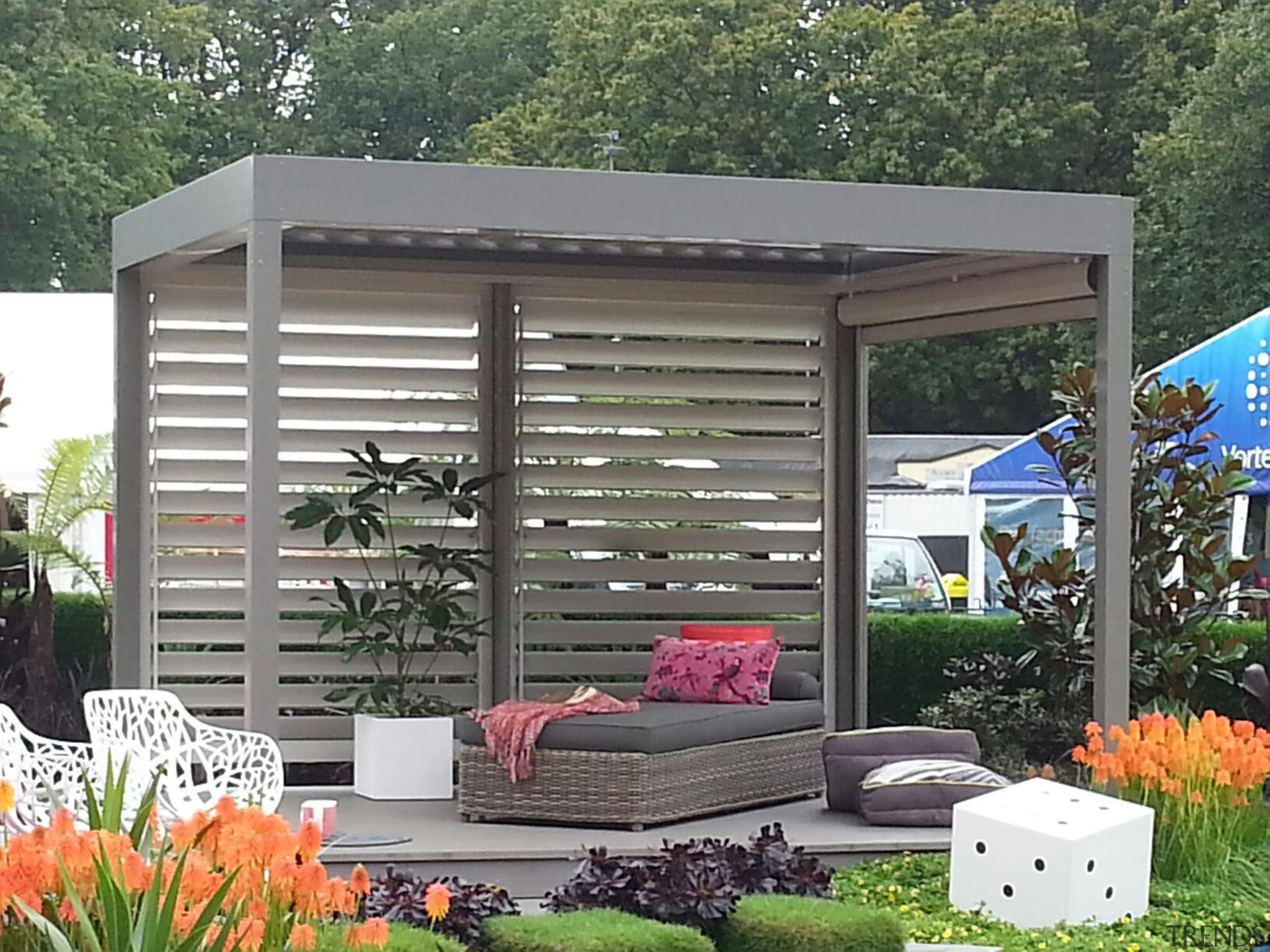 The Louvretec stand at the Ellerslie Flower Show backyard, canopy, outdoor structure, shade, shed, gray