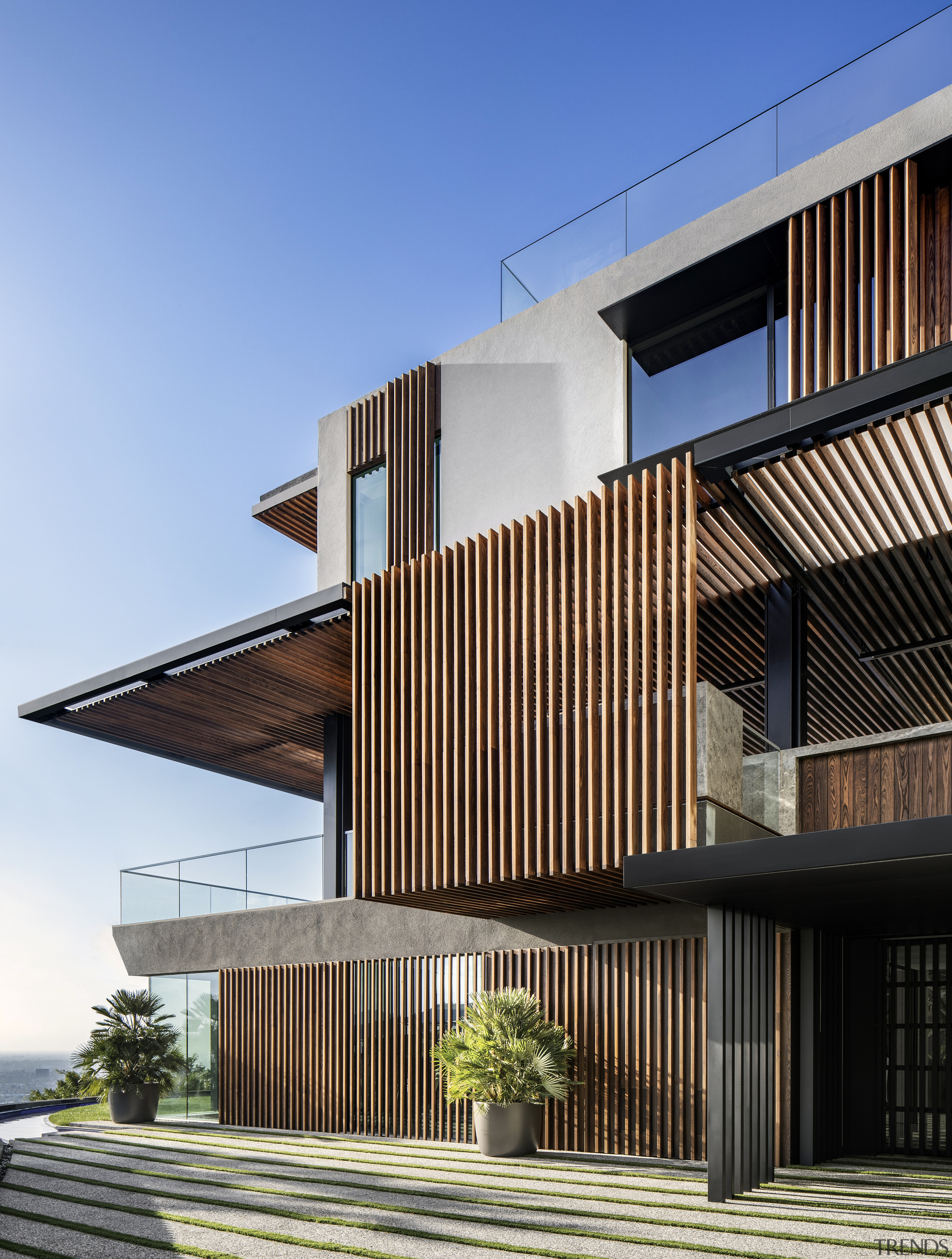 The exterior of this expansive new home features