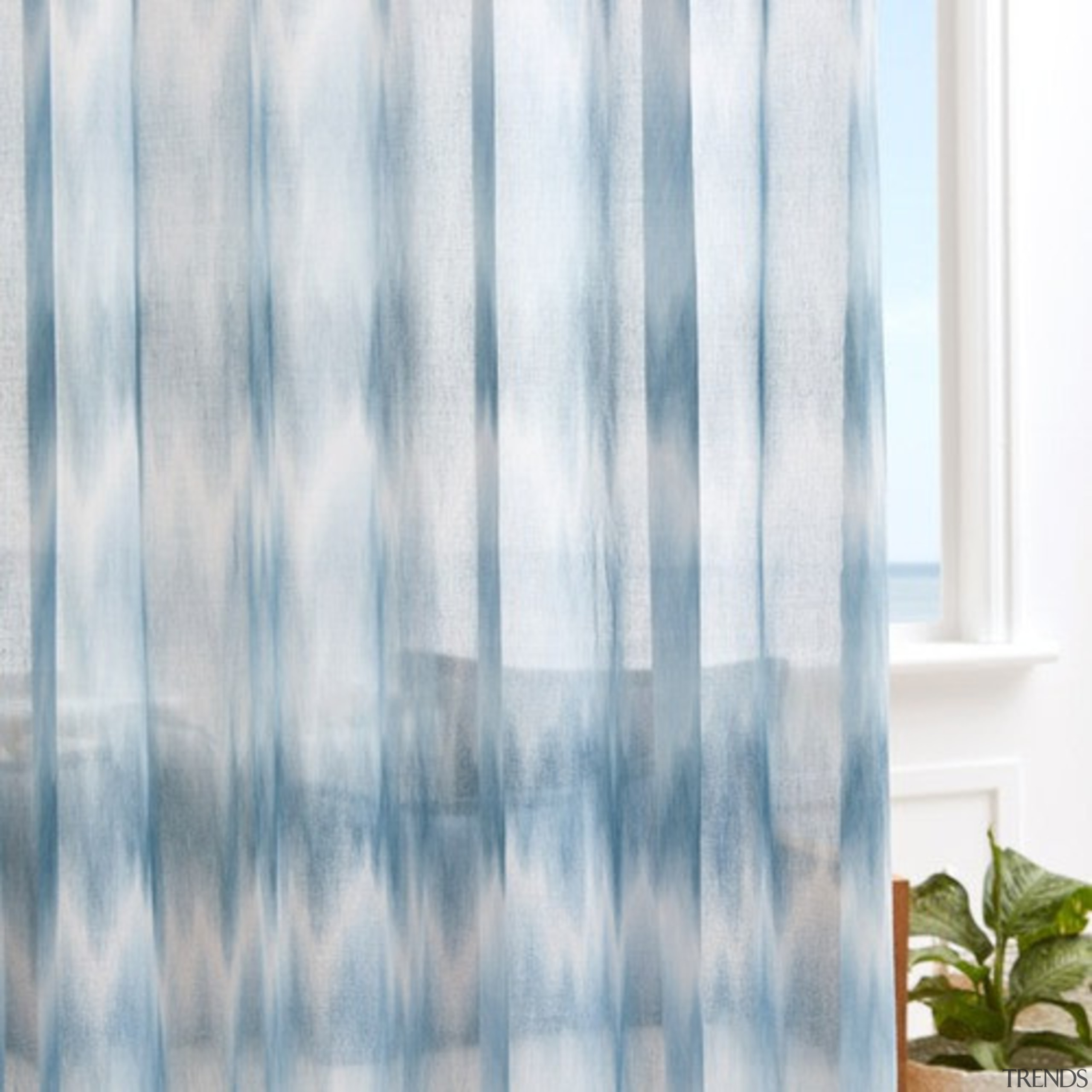 Serene and timeless, COAST combines a stylish ombre blue, curtain, interior design, textile, window, window covering, window treatment, gray, white