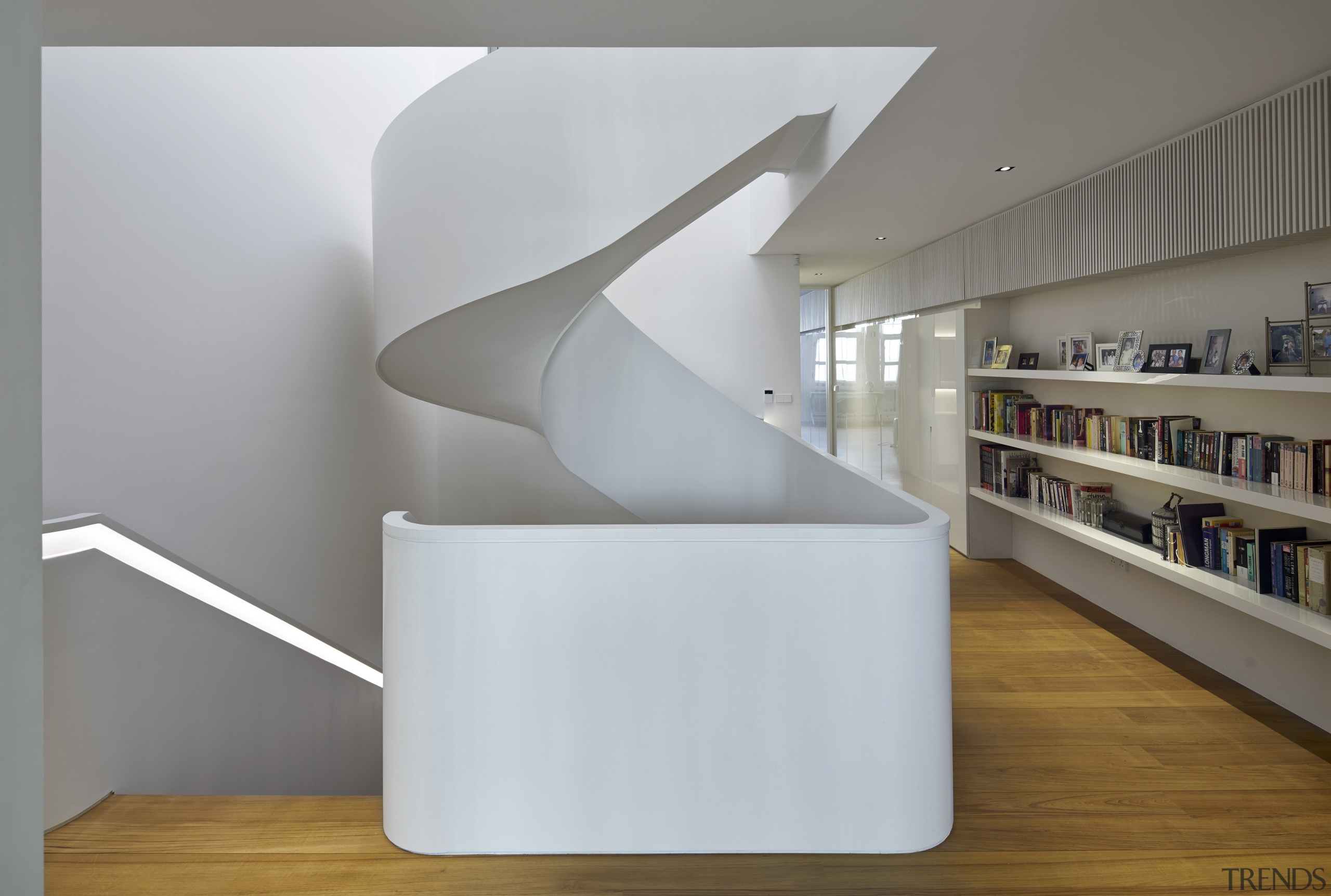 A lantern roof and skylights above this stairwell architecture, furniture, interior design, product design, shelf, shelving, gray