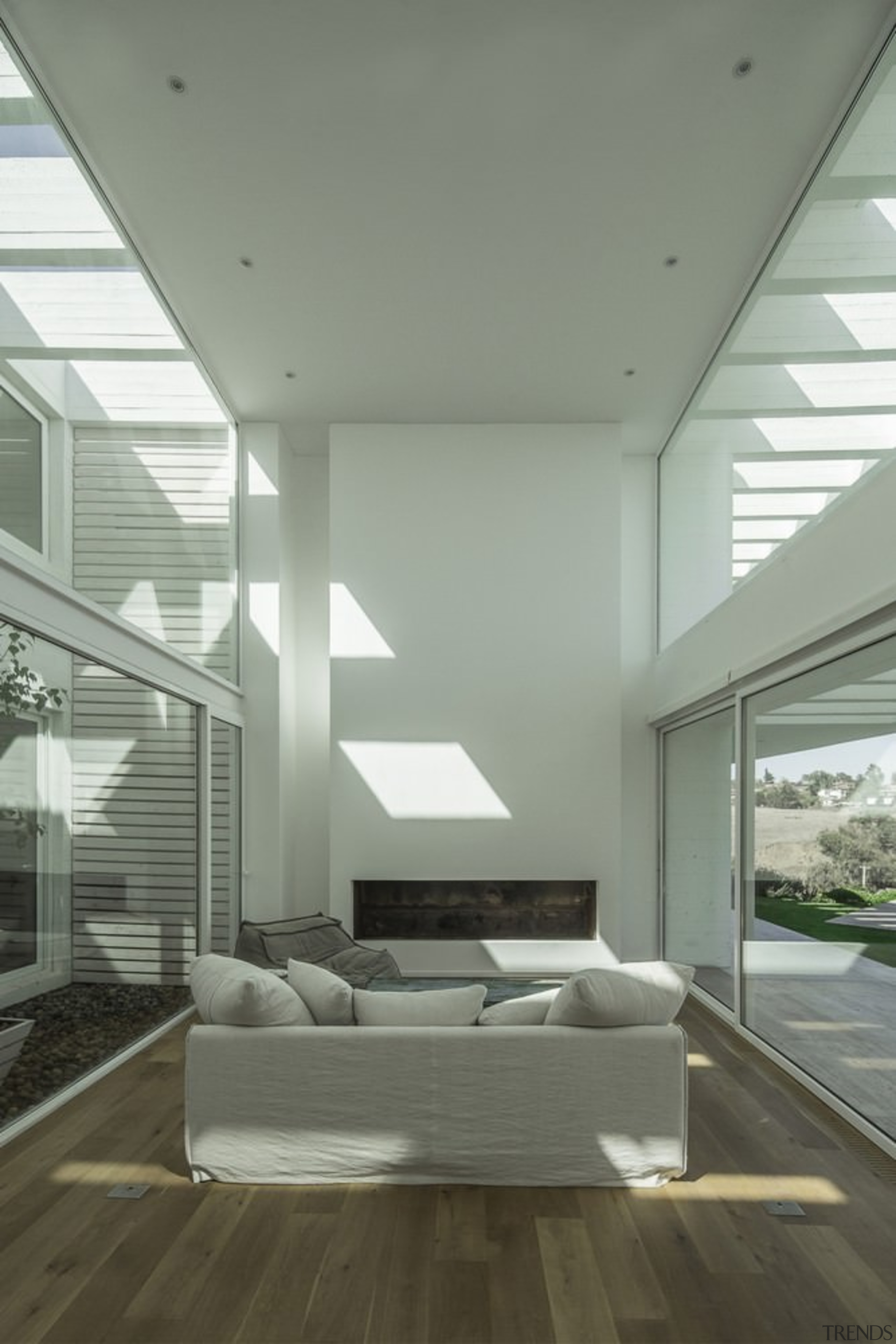 The architect made every attempt to maximise natural architecture, ceiling, condominium, daylighting, daytime, estate, floor, house, interior design, living room, window, gray