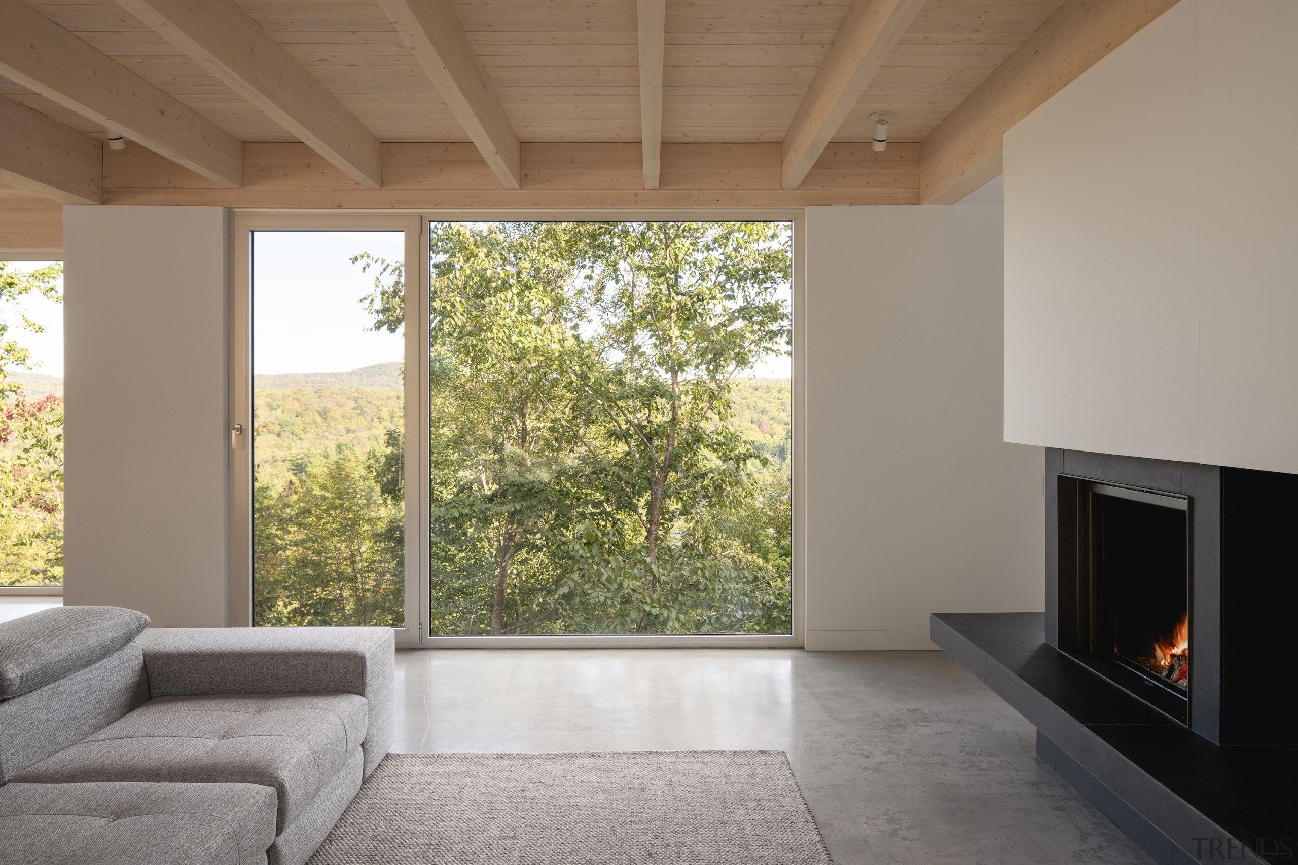 Clean-lined interiors take back seat to the home's
