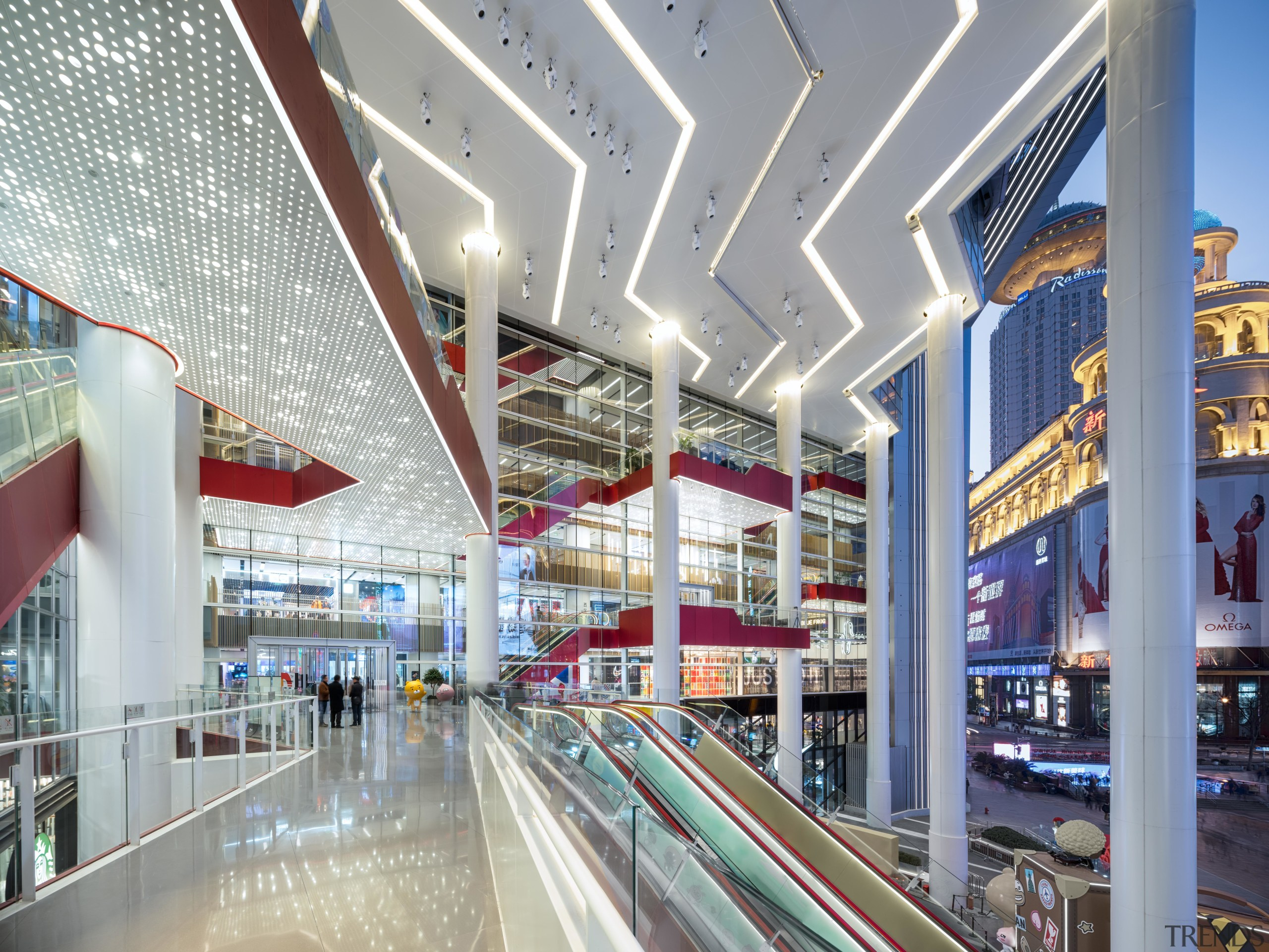 Shimao Festival City mall now has a connected architecture, building, ceiling, commercial building, interior design, lobby, metropolitan area, mixed-use, real estate, retail, shopping mall, gray