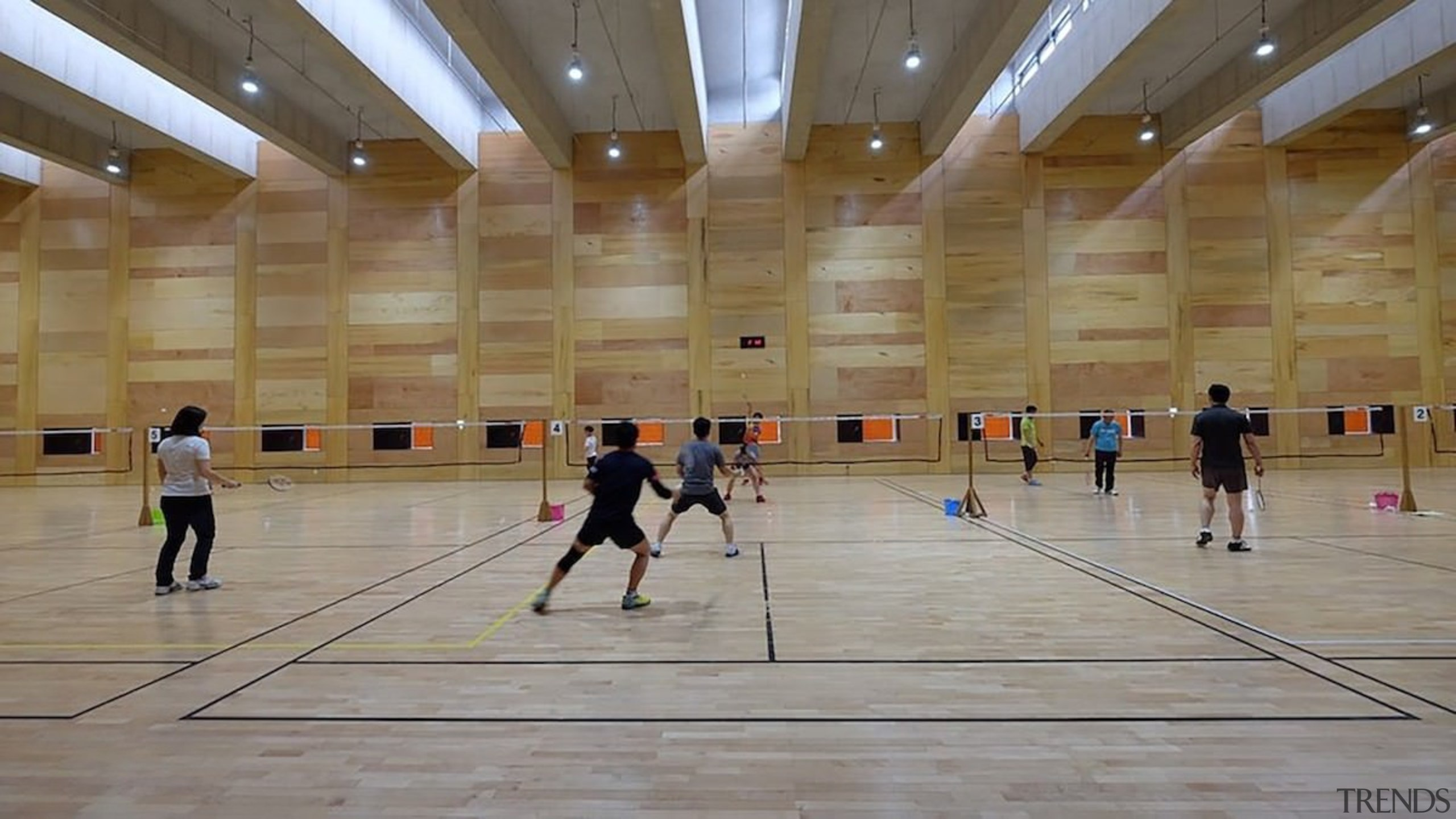 There's ample for multiple games - There's ample competition event, flooring, fun, leisure, leisure centre, sport venue, sports, structure, gray, brown
