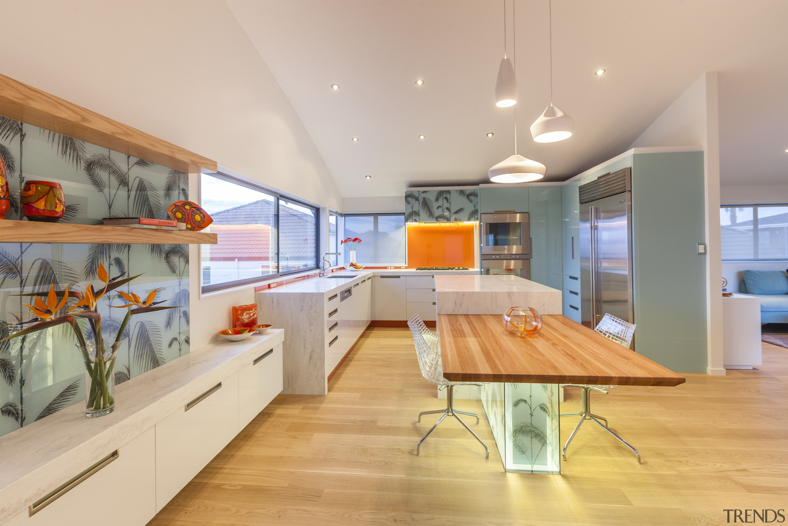 Decorative printed glass panels enliven this kitchen wall, architecture, ceiling, house, interior design, real estate, orange