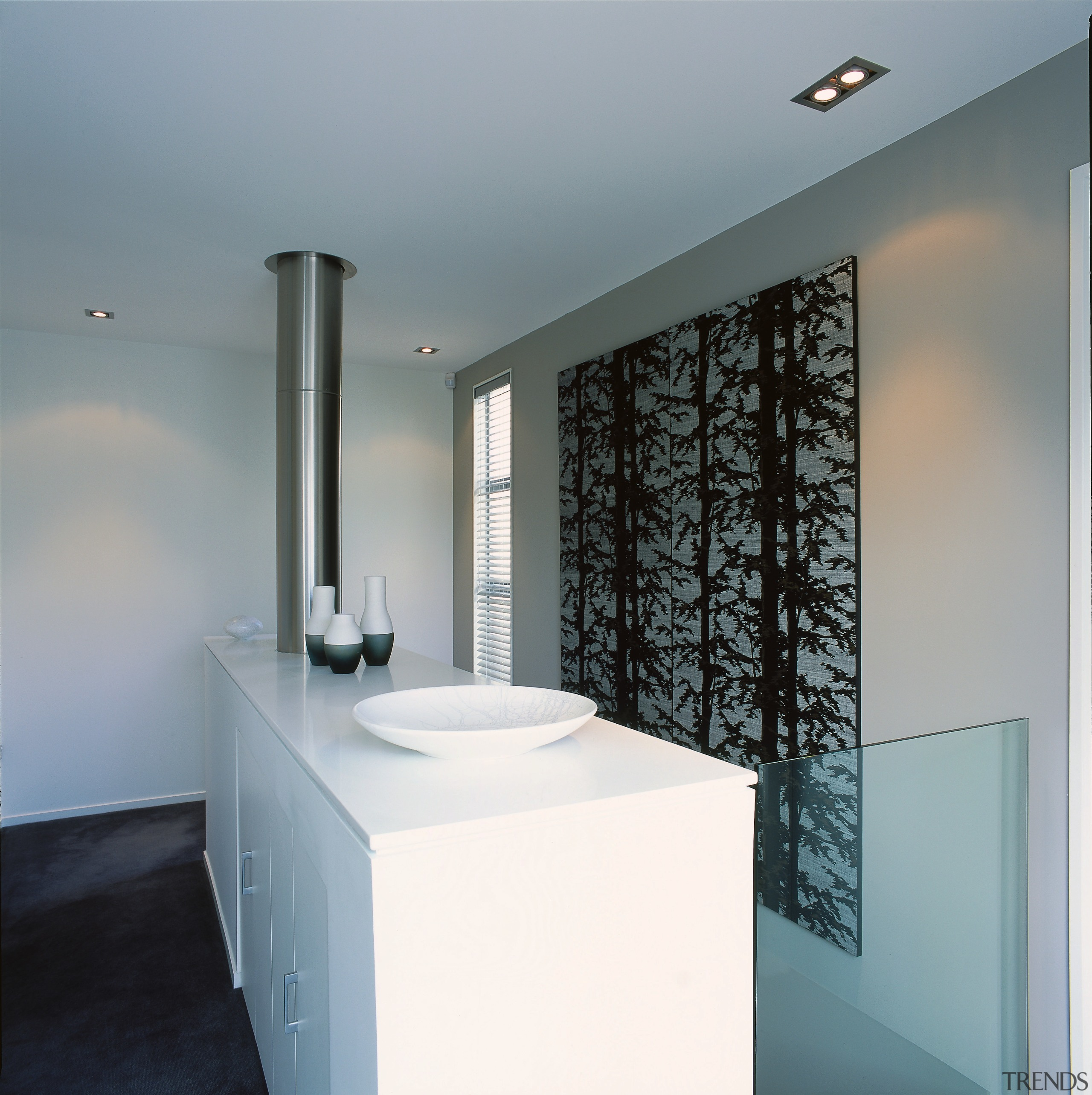 View of this living area - View of architecture, bathroom, ceiling, interior design, product design, tap, gray