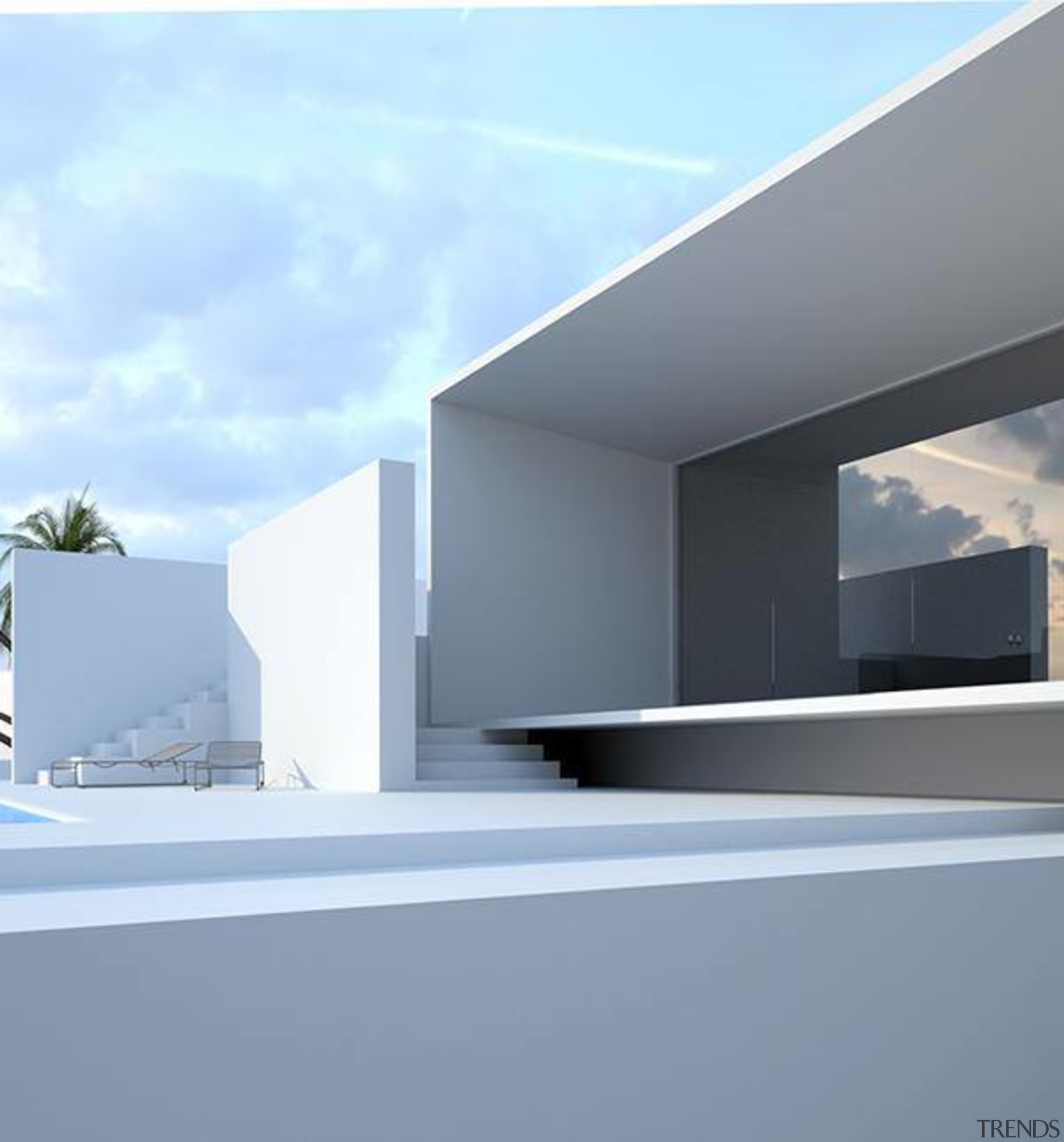 All white exteriors give a Mediterranean feel to architecture, daylighting, elevation, facade, house, product design, sky, teal, gray