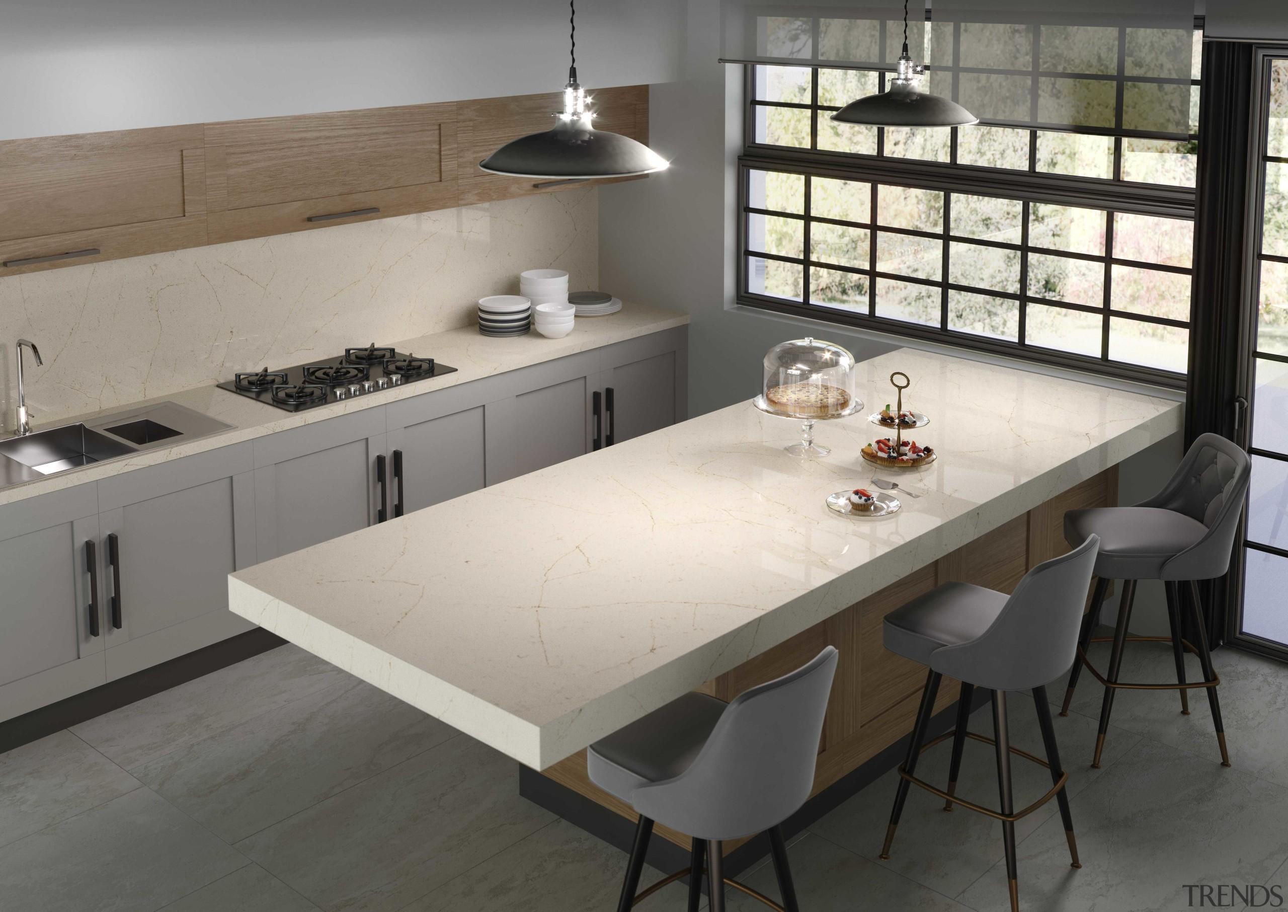 Silestone® Eternal Marfil Encimera Cocina 2 1 - countertop, cuisine classique, floor, furniture, interior design, kitchen, table, gray, black
