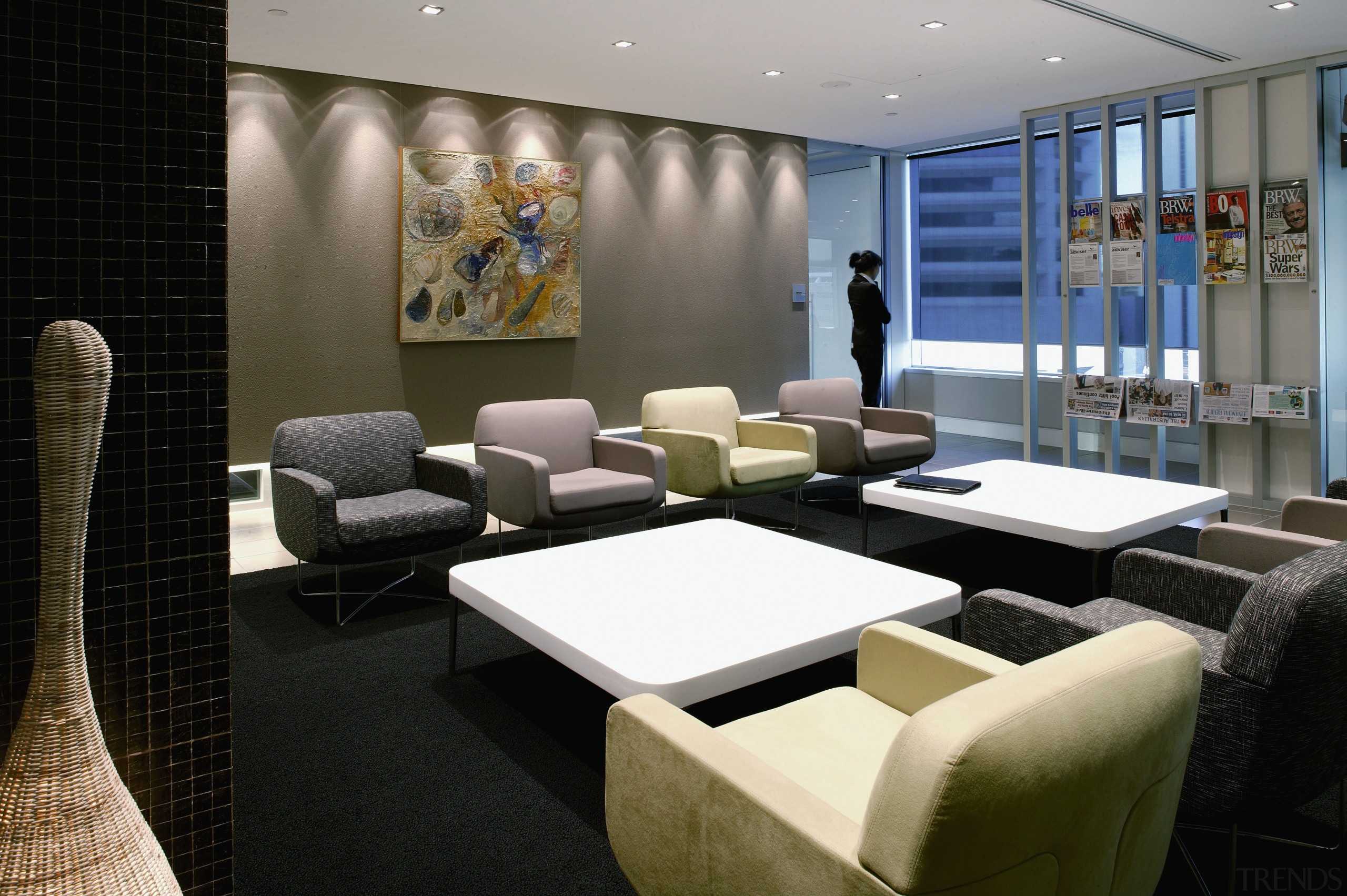 View of the client waiting area, carpet, dark furniture, interior design, black, gray
