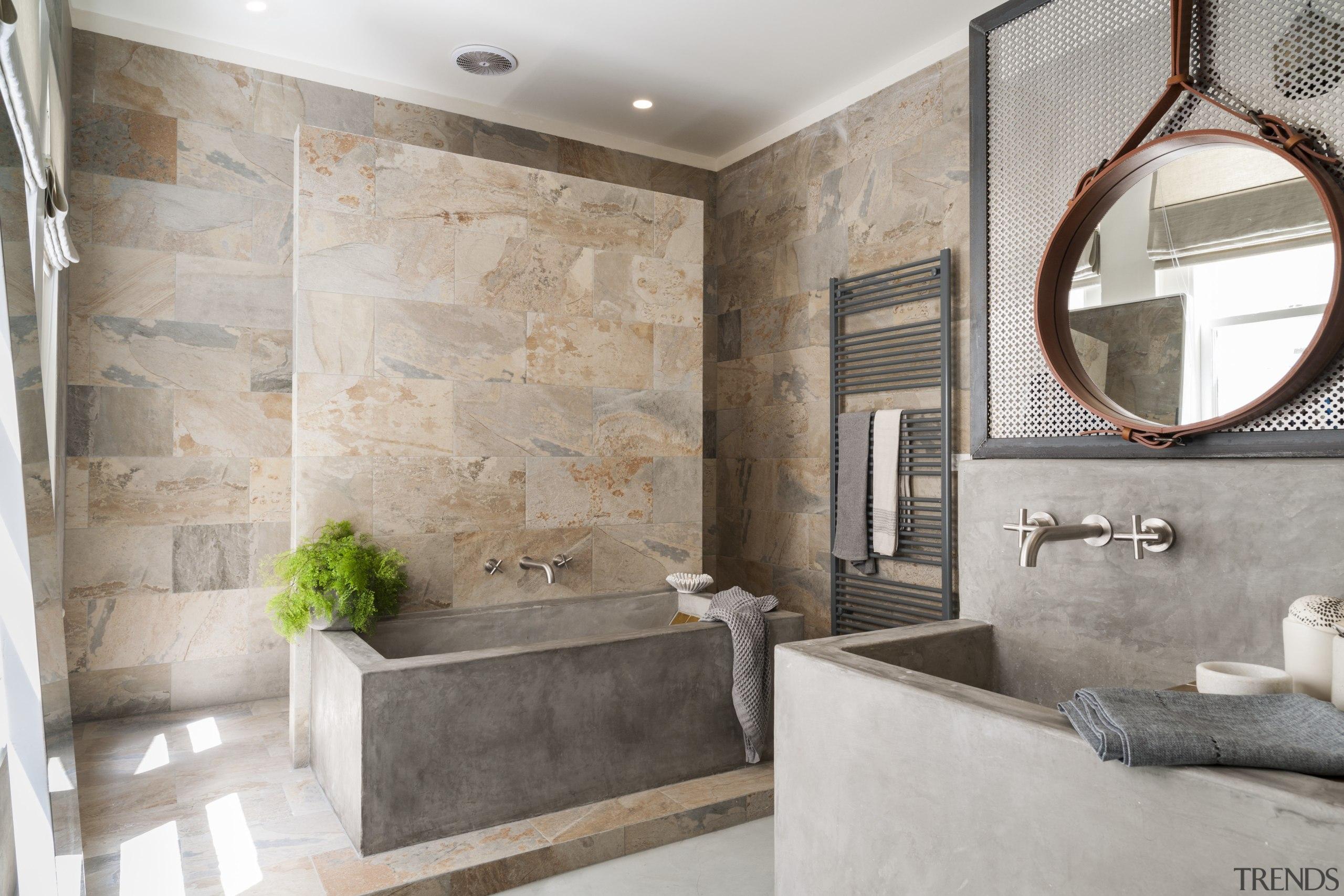 The natural tones of the Verde slate stone bathroom, floor, flooring, home, interior design, real estate, room, tile, wall, gray