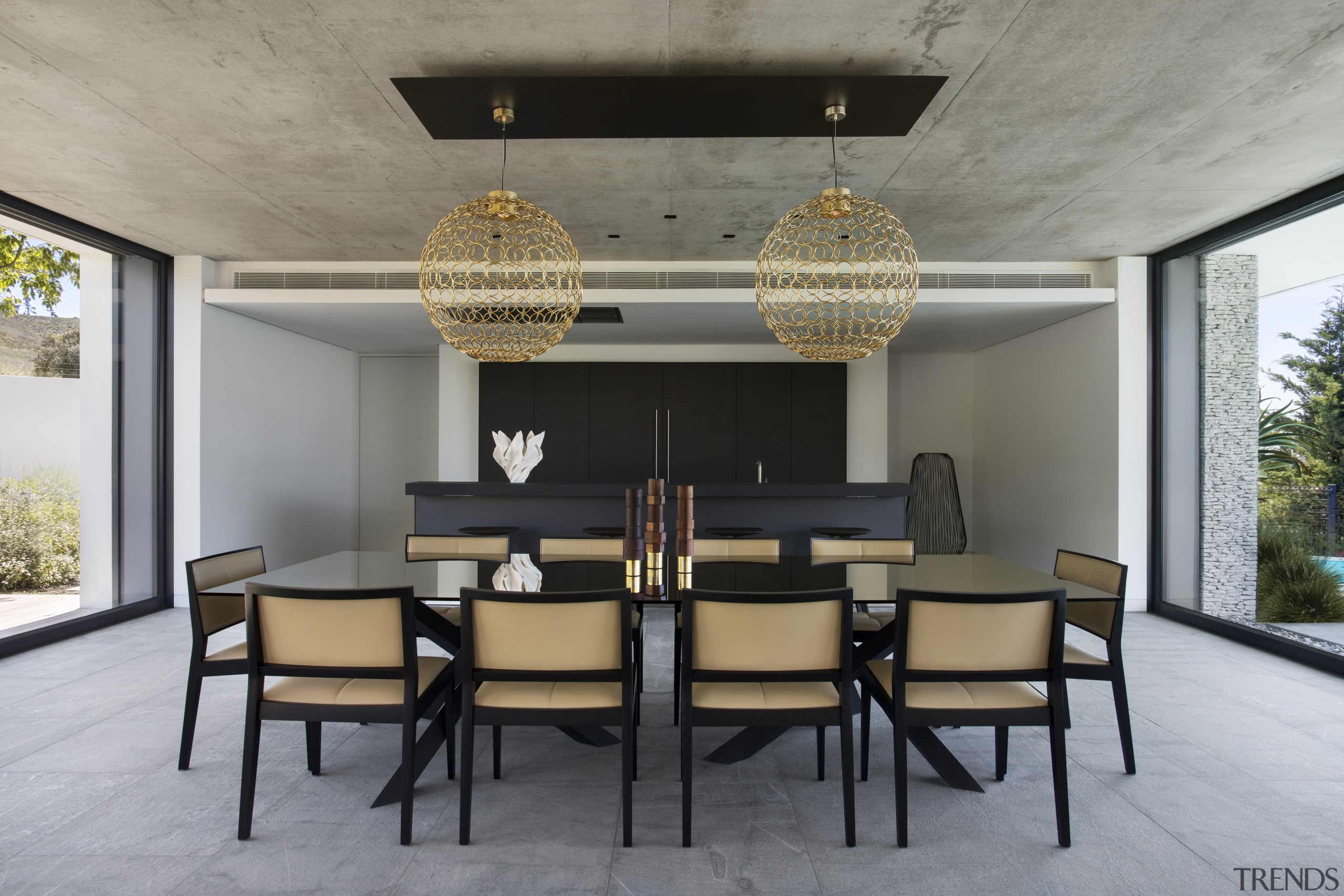 The dining room and kitchen are in the architecture, chair, dining room, furniture, house, interior design, living room, table, gray