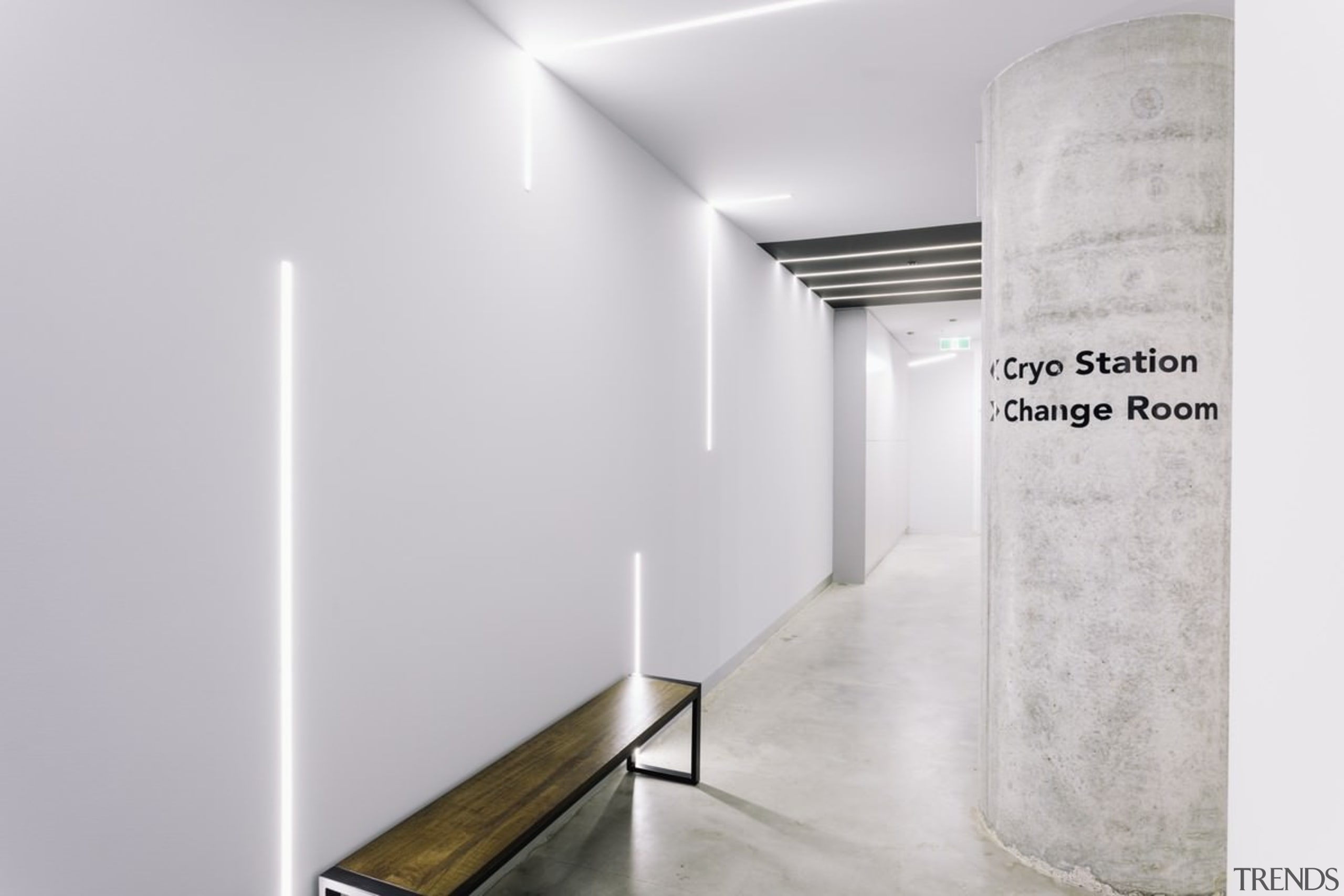 A unique lighting system runs down from the architecture, ceiling, floor, interior design, product design, wall, white, gray
