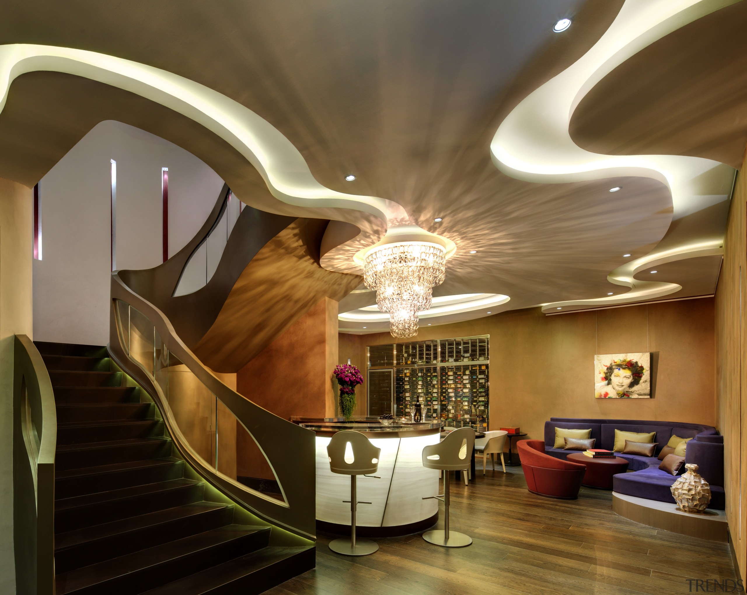 Never mind the arresting ceiling and staircase, even architecture, ceiling, home, interior design, lighting, lobby, room, stairs, brown