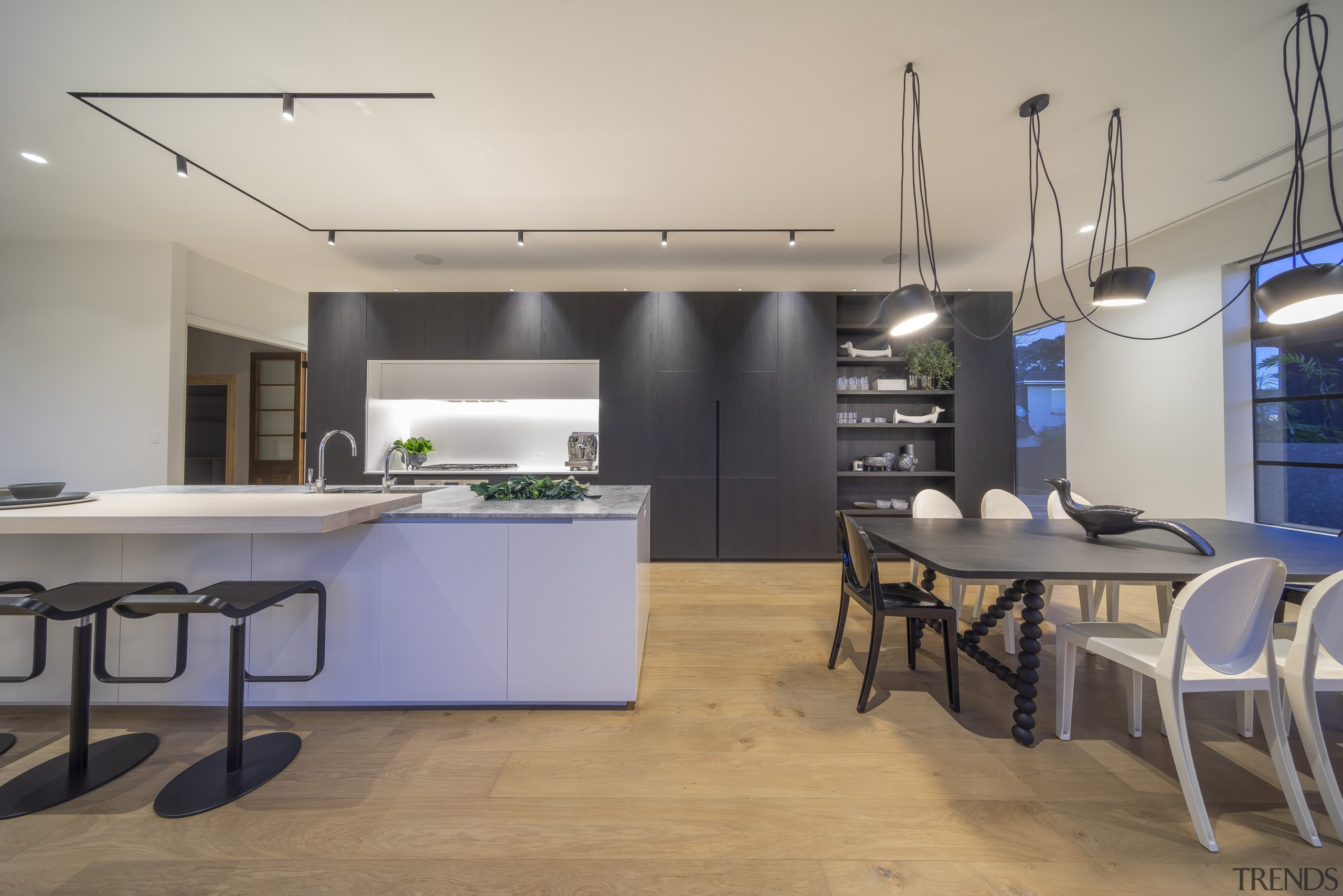 Highly Commended – Cronin Kitchens – 2019 TIDA architecture, building, cabinetry, ceiling, countertop, design, dining room, floor, flooring, furniture, hardwood, home, house, interior design, kitchen, light fixture, lighting, loft, property, real estate, room, table, wood flooring, gray