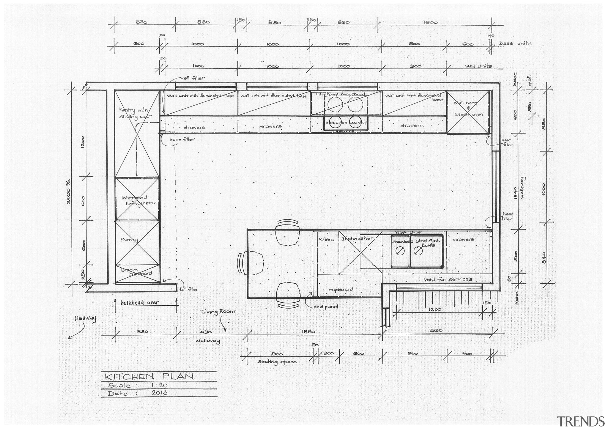 On this project by German Kitchens, work surfaces angle, architecture, area, artwork, black and white, design, diagram, drawing, floor plan, line, line art, plan, product, product design, structure, technical drawing, text, white