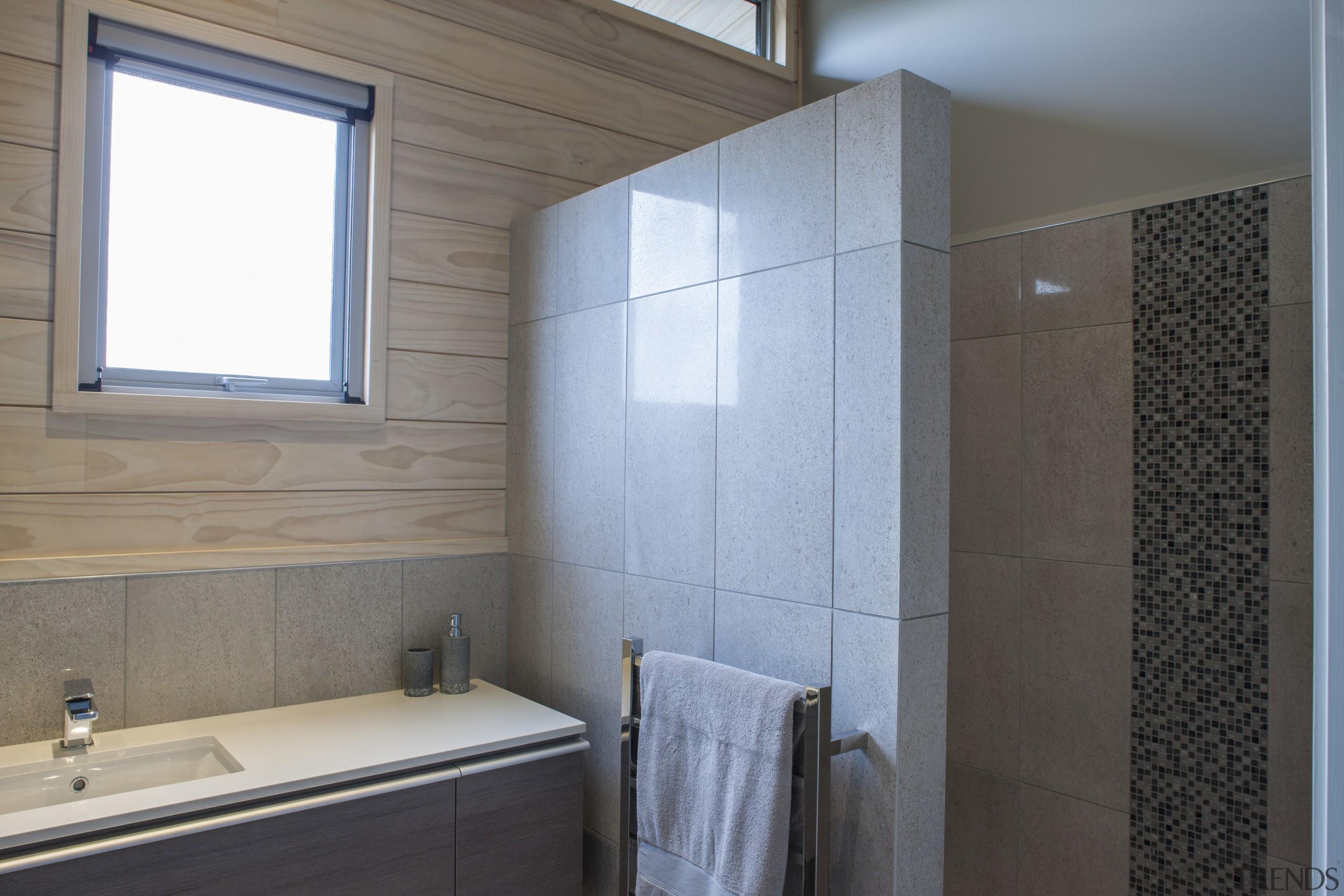 Lockwood Home built by Peter Richards - Lockwood bathroom, bathroom accessory, bathroom cabinet, floor, flooring, home, interior design, room, tile, wall, gray