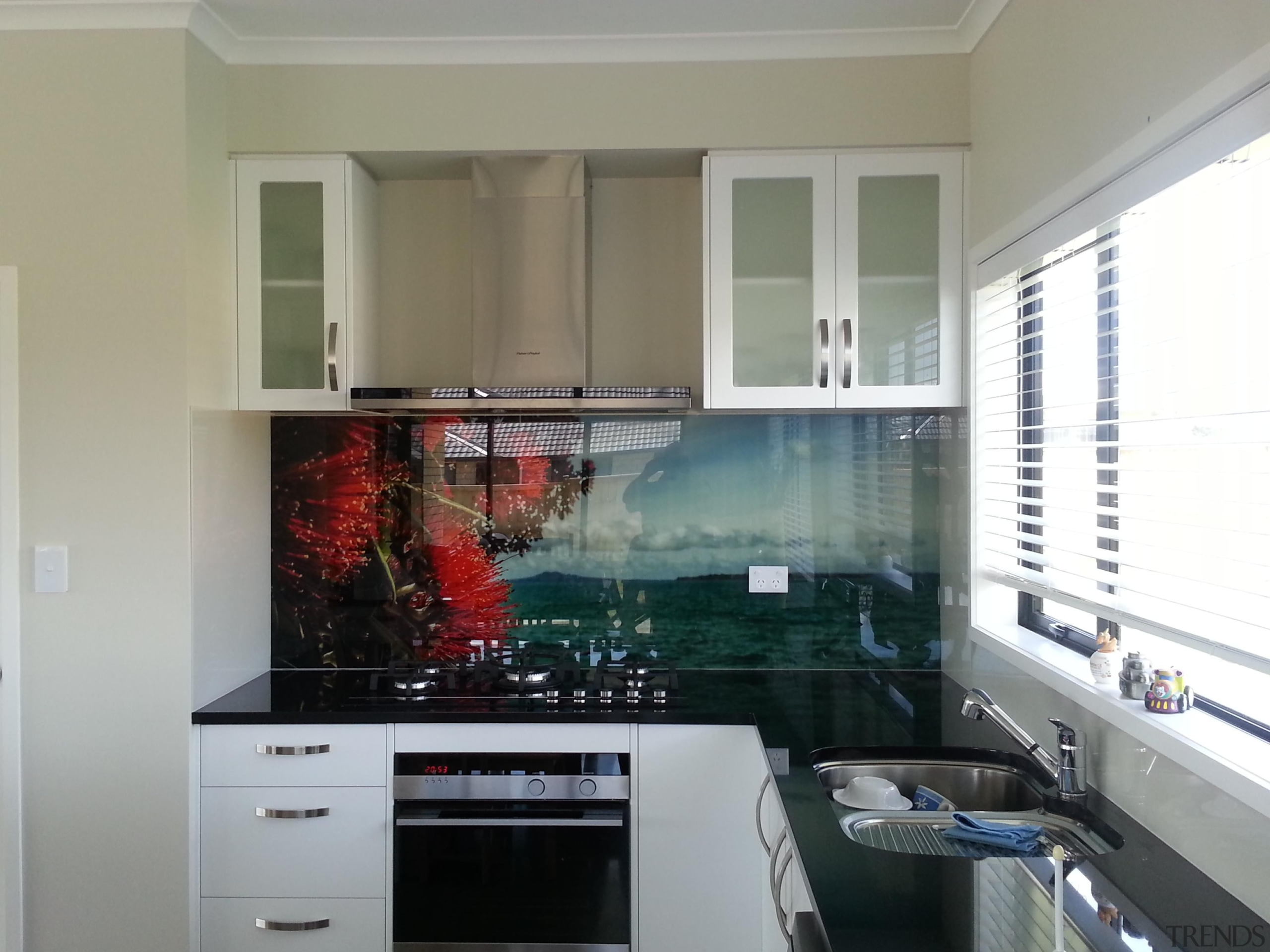 Printed Glass Splashback - Pohutakawa - countertop | countertop, glass, home, interior design, kitchen, room, window, gray