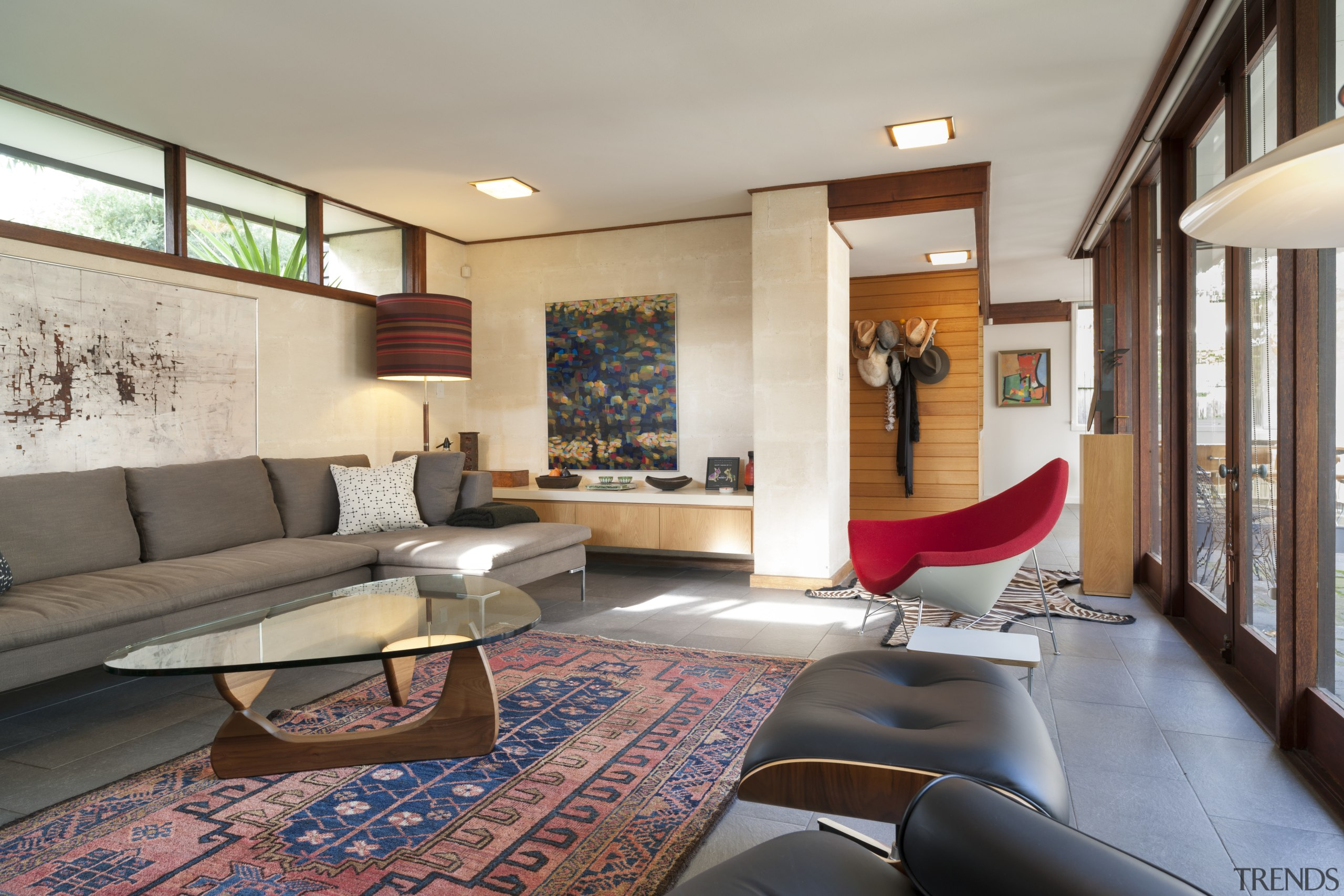 Revamped living room in renovated Mid-century Modern house ceiling, home, house, interior design, living room, real estate, room, gray