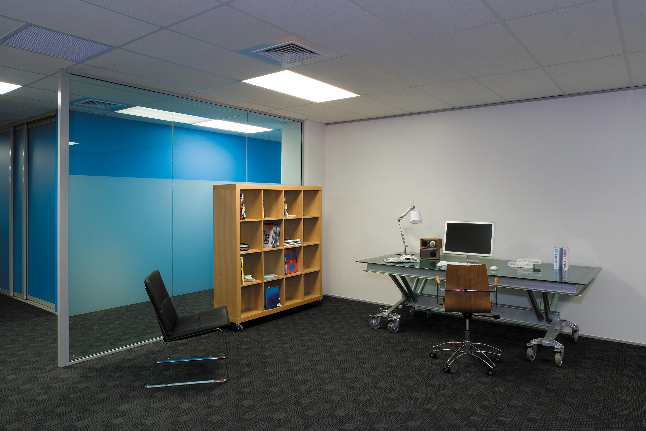 All surfaces in the Trends premises, including workstations, desk, floor, furniture, interior design, office, product design, gray, black