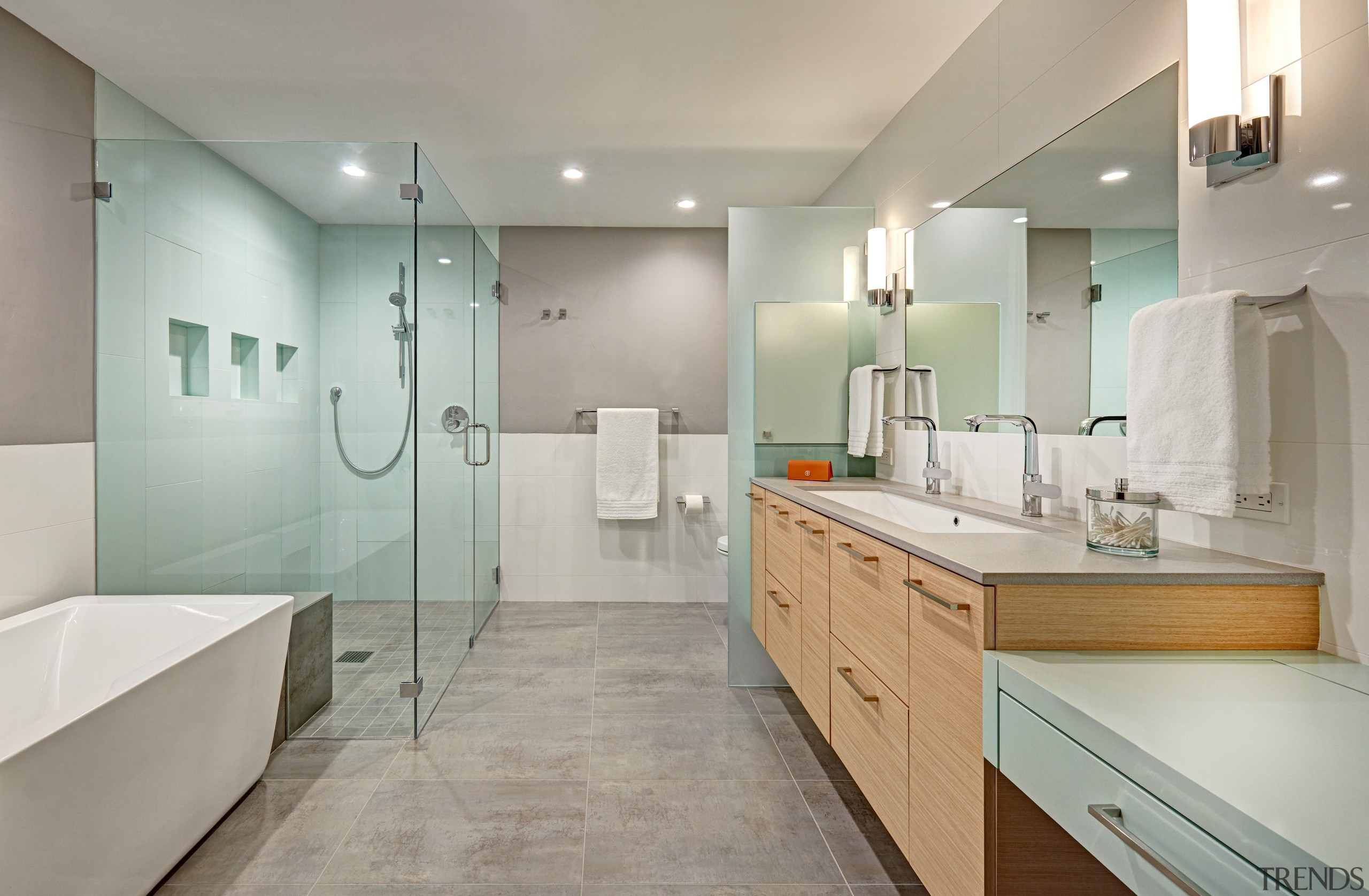 Wood and glass were popular materials for Mid-century architecture, bathroom, bathroom accessory, bathroom cabinet, cabinetry, flooring, furniture, home, house, interior design, plumbing fixture, basin, tap, tile, bath, Nar Design Group
