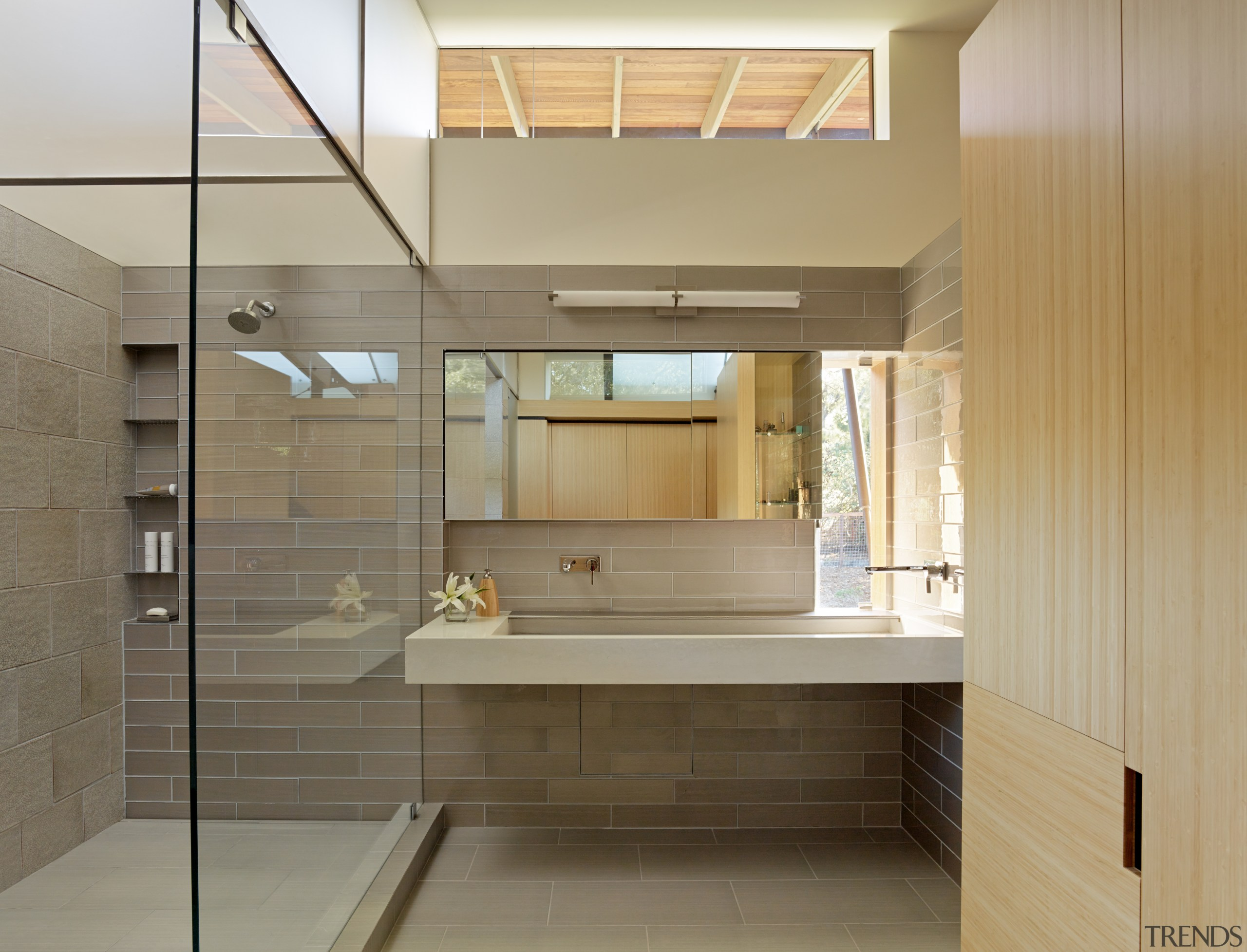 Light floods into this second storey master bathroom architecture, bathroom, cabinetry, tiled floor, interior design, shower, glass, FuTung Cheng
