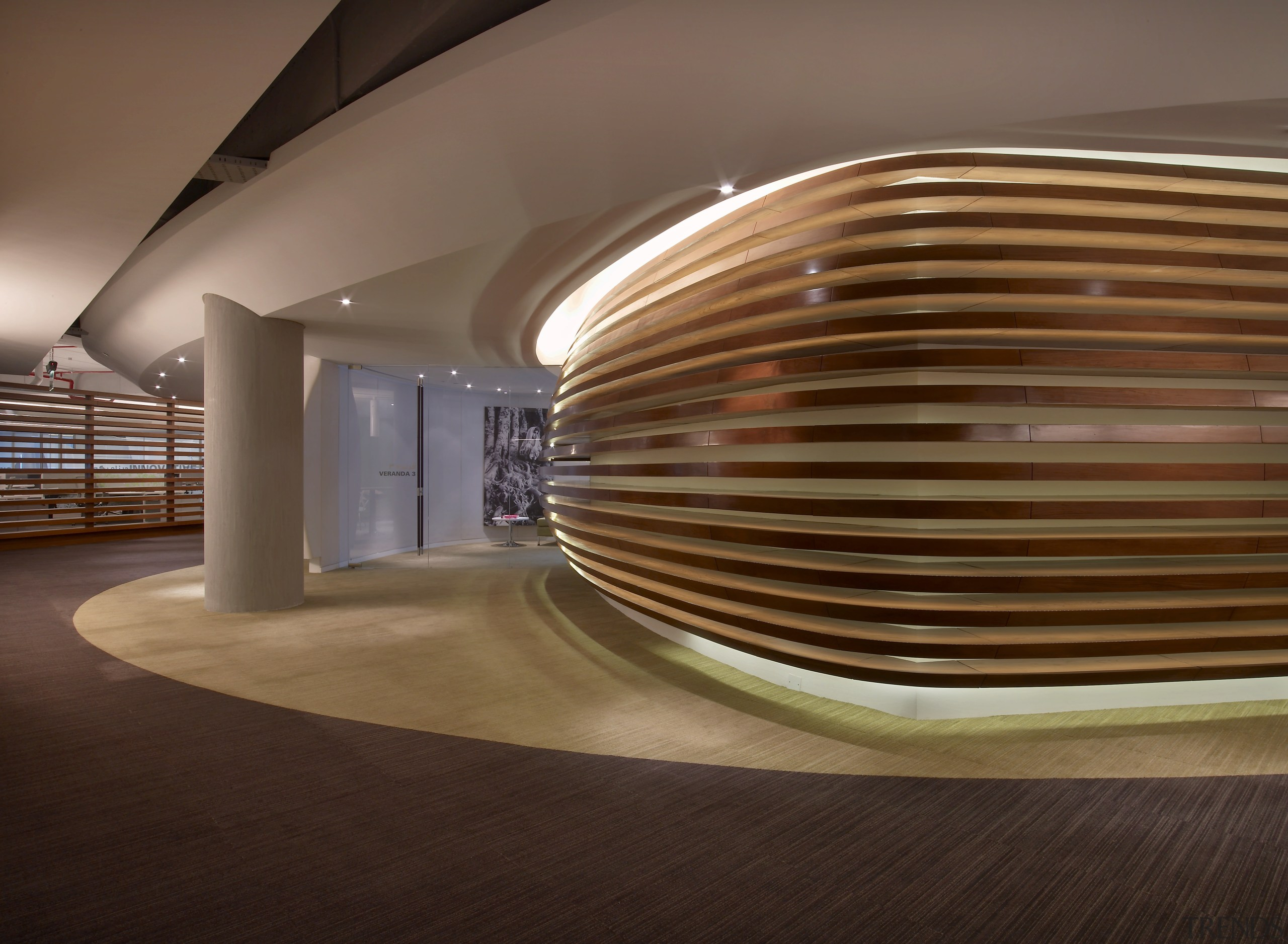 Interior with wooden curved floor feature. - Interior architecture, ceiling, daylighting, floor, flooring, hardwood, interior design, lighting, lobby, performing arts center, product design, wood, brown