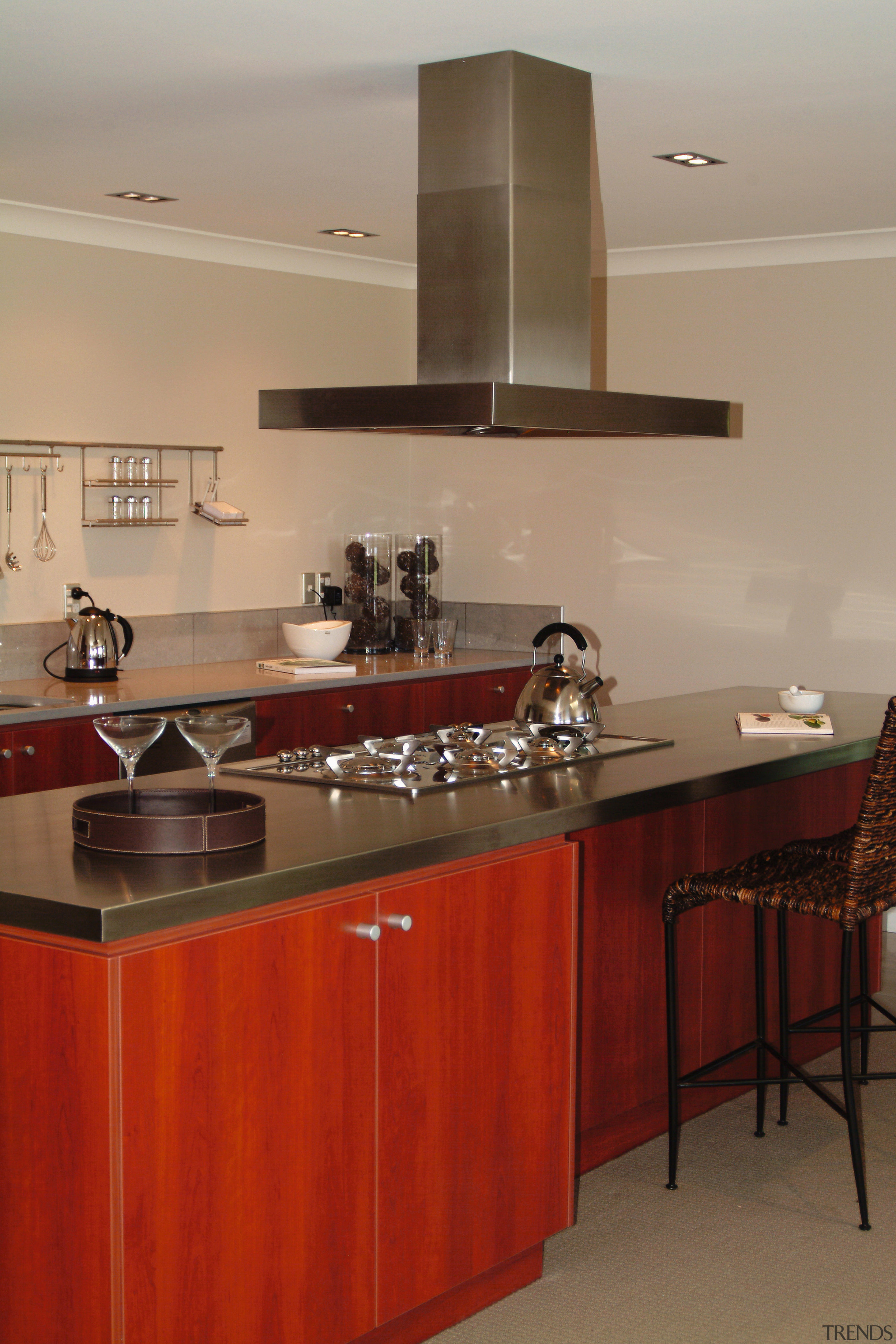 view of the kitchen and stainless steel smeg cabinetry, countertop, cuisine classique, interior design, kitchen, room, under cabinet lighting, red
