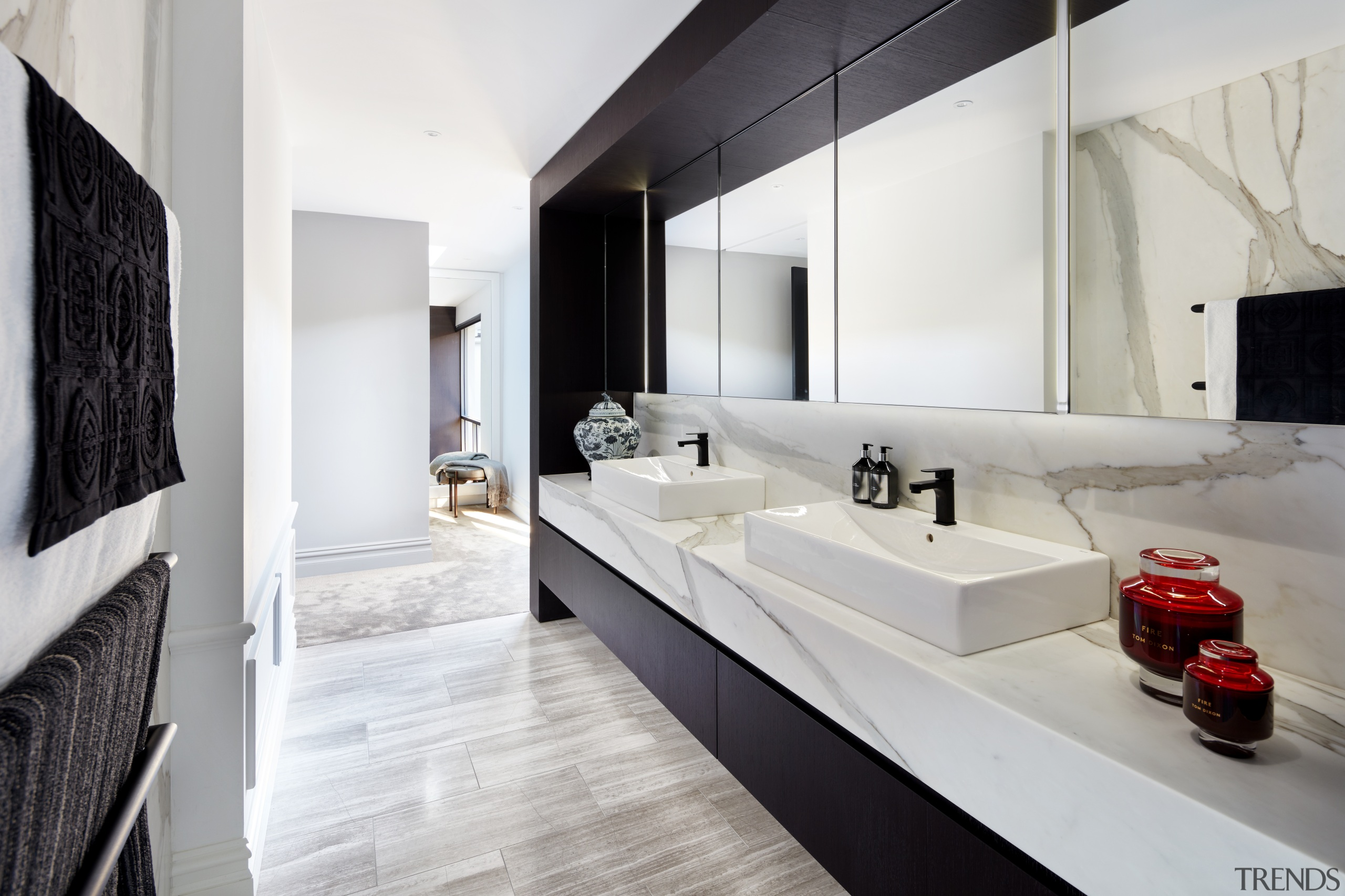 ​​​​​​​Modern benchtop basins meet classic materials in this architecture, bathroom, bathtub, black-and-white, countertop, vanities, design, floor, flooring, nterior design, marble, plumbing fixture, tap, tile, Archer Design, Basins