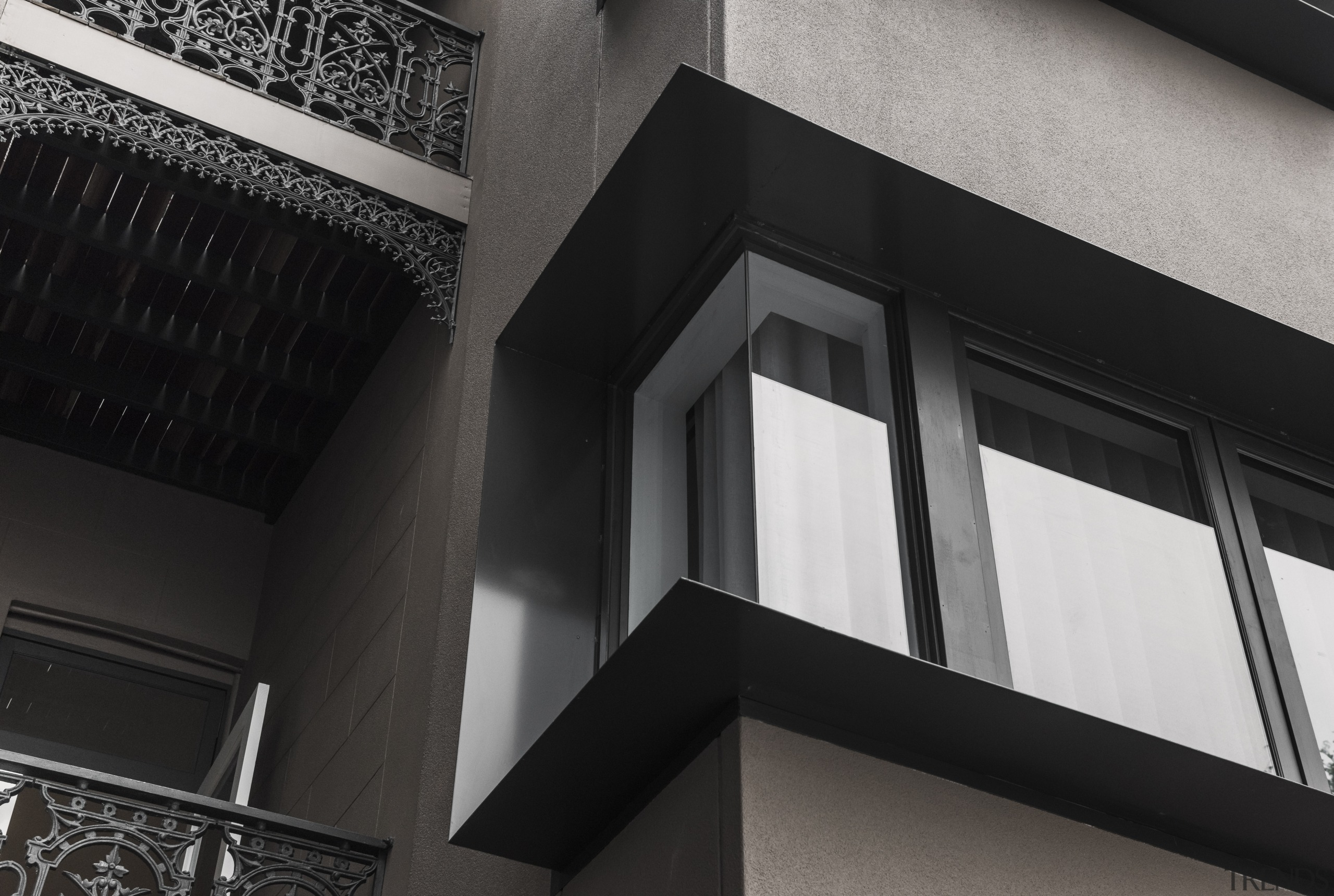 Where worlds collide  the reworked rear facade angle, architecture, black and white, building, daylighting, facade, glass, house, wall, window, black, gray