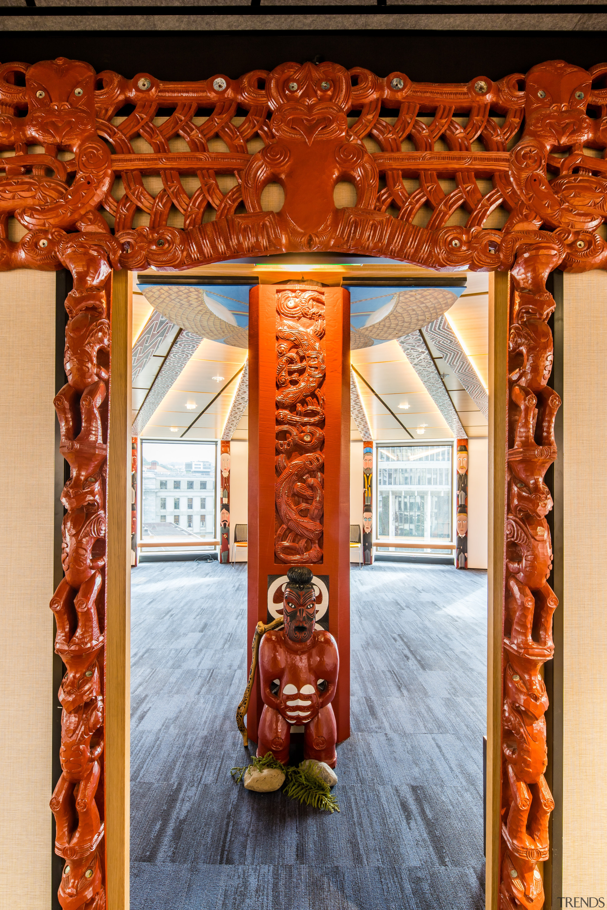 Pride of place. At the new Treasury offices, architecture, art, carving, wharenui, pou, treasury offices, Workspace Architects