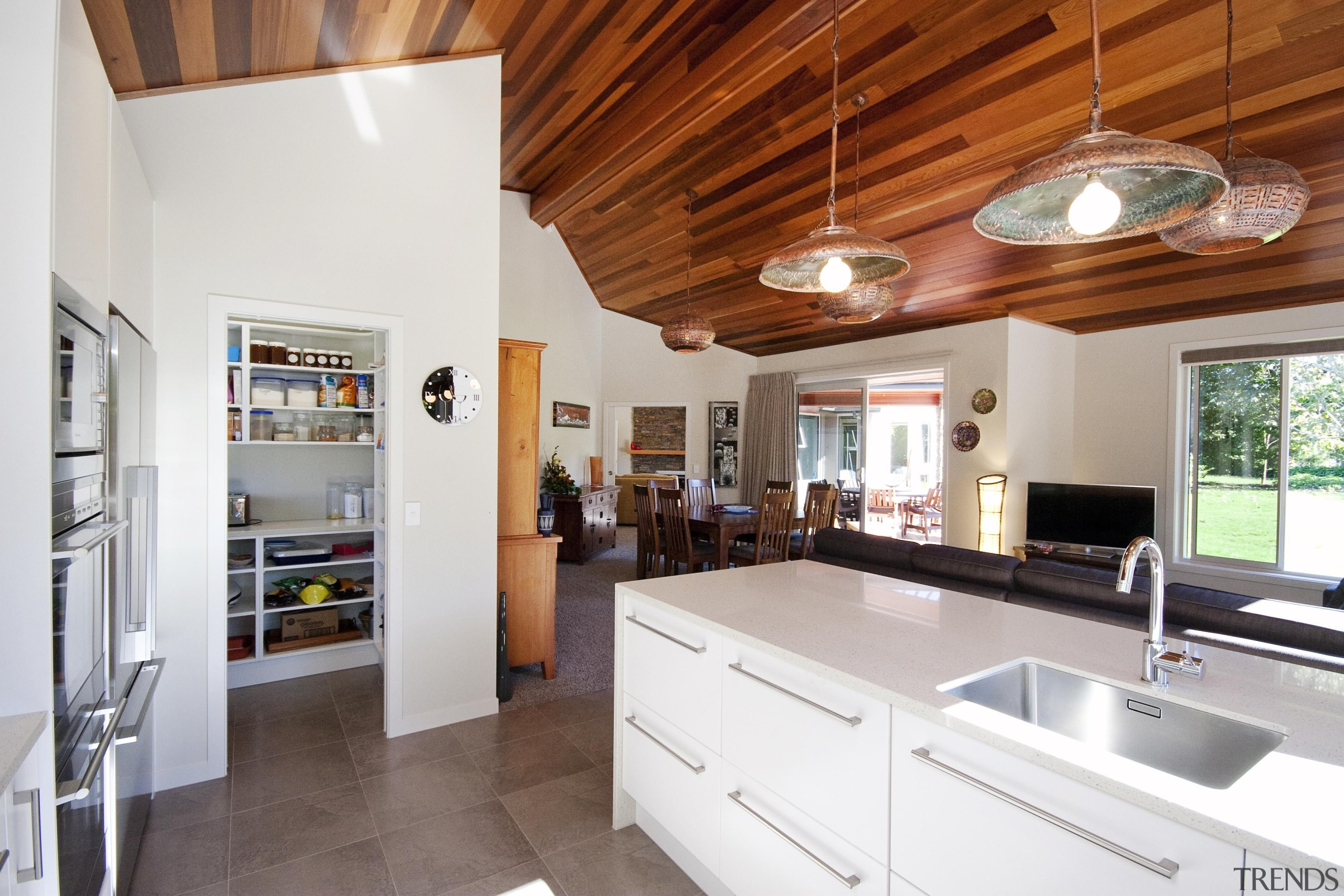 White kitchen with separate pantry. Home built by countertop, cuisine classique, home, interior design, kitchen, property, real estate, room, gray