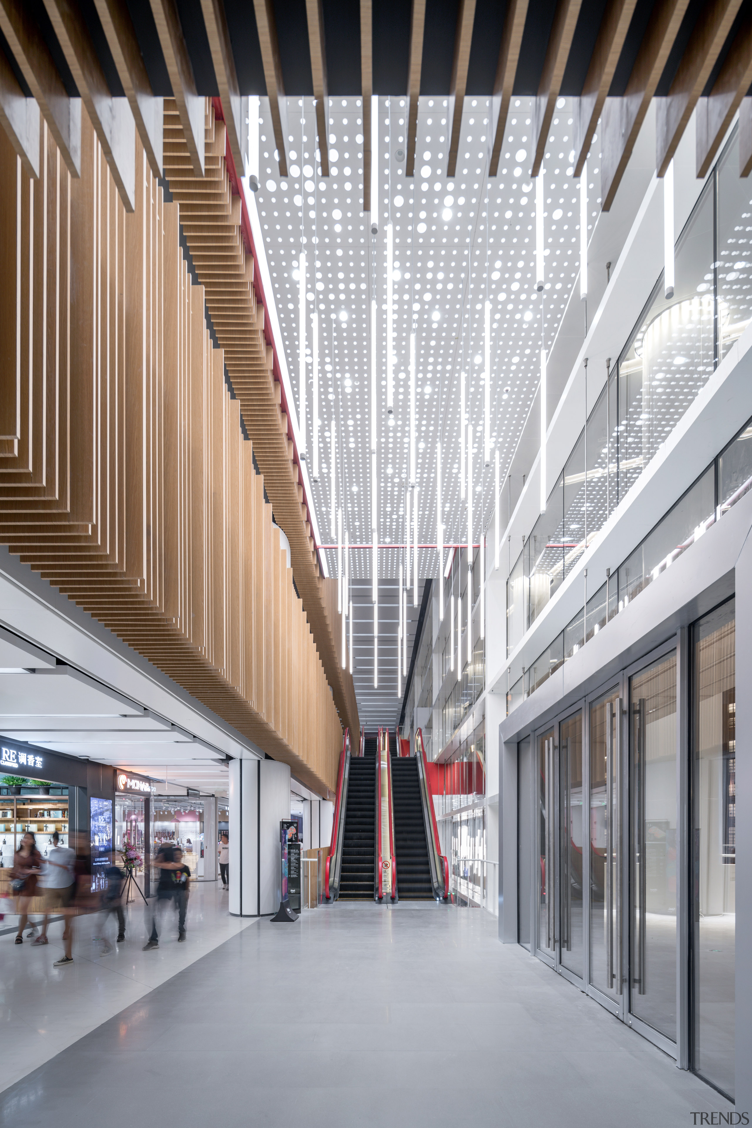 Long escalators lead directly up to the higher architecture, building, commercial building, interior design, lobby, shopping Mall, escalators, Shimao Festival City