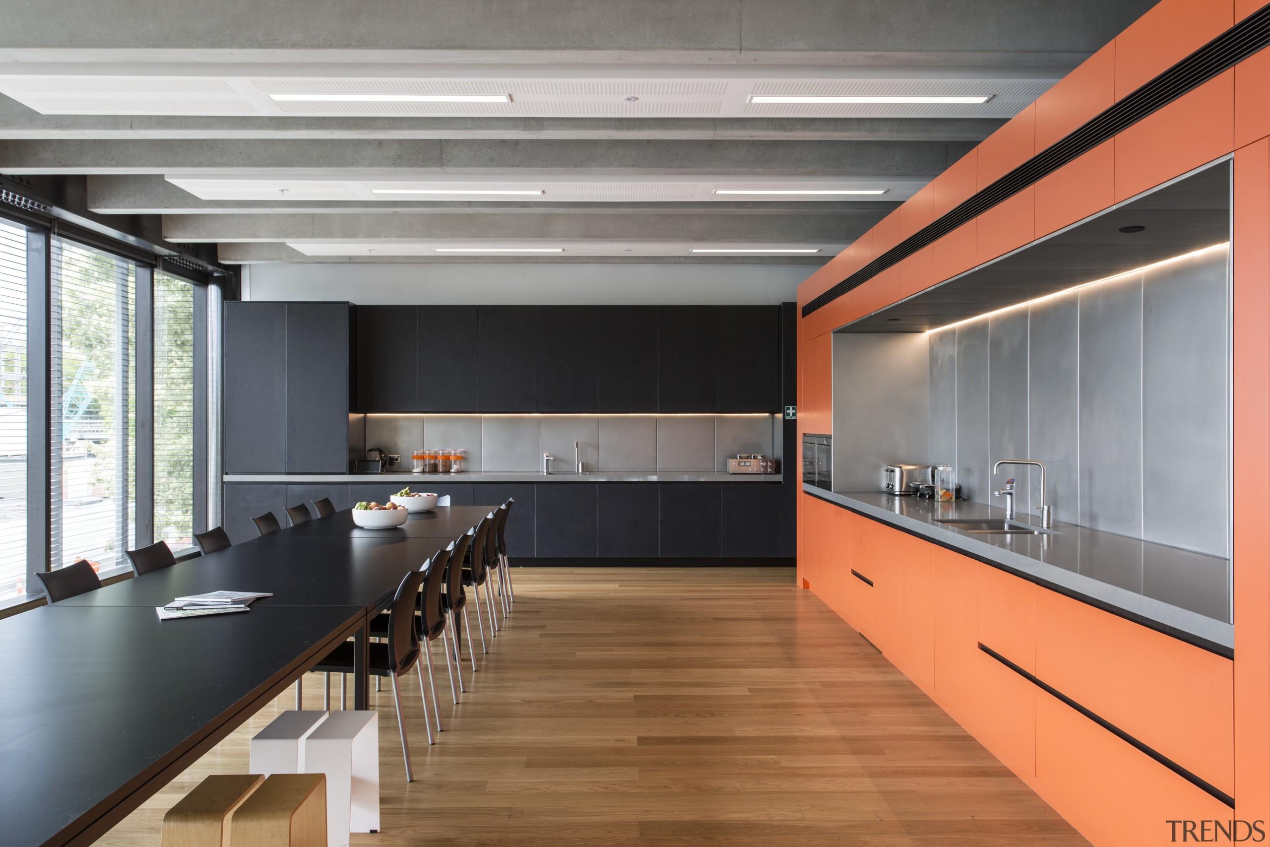 In Warren and Mahoneys own studio, the staff architecture, ceiling, interior design, gray