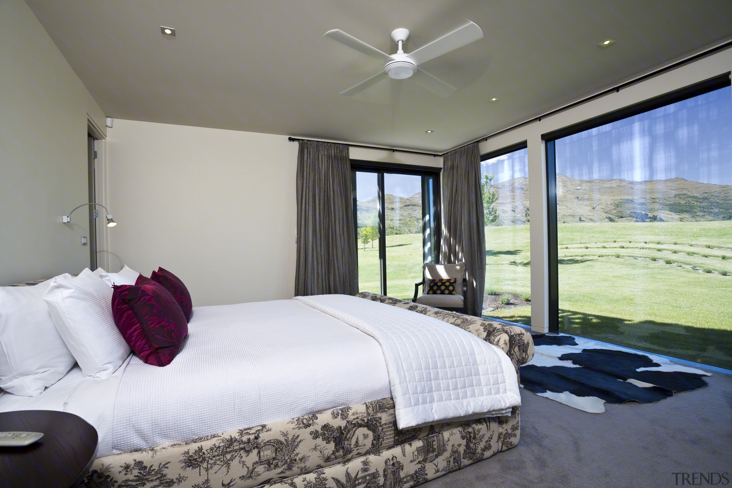 View Of Bedroom Which Features Floor To Ceiling Glass Sliding Doors, Carpeted