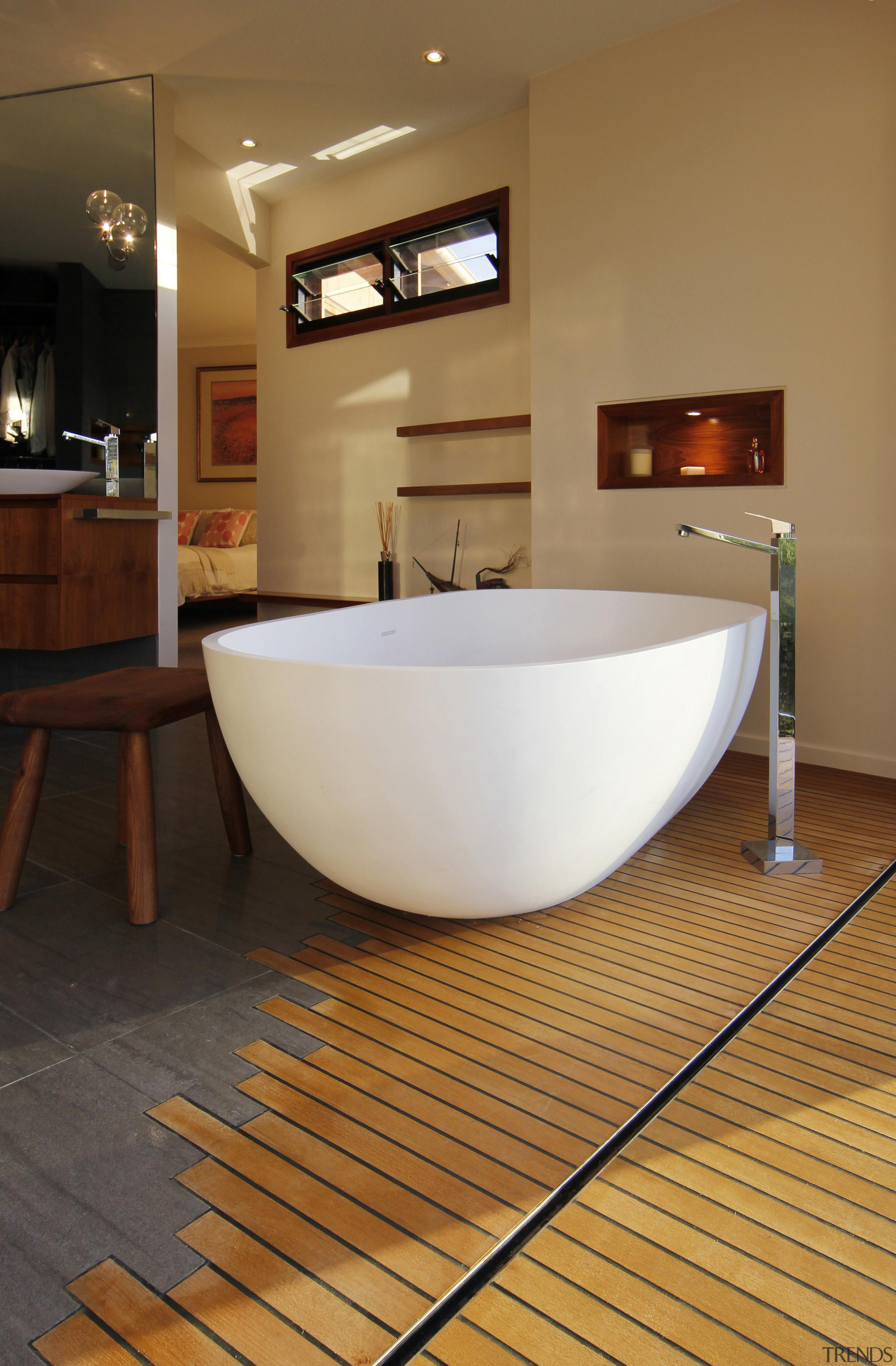Winner Bathroom Design of the Year ACT Sthn bathroom, bathtub, floor, flooring, hardwood, interior design, plumbing fixture, product design, room, sink, tile, wood flooring, brown